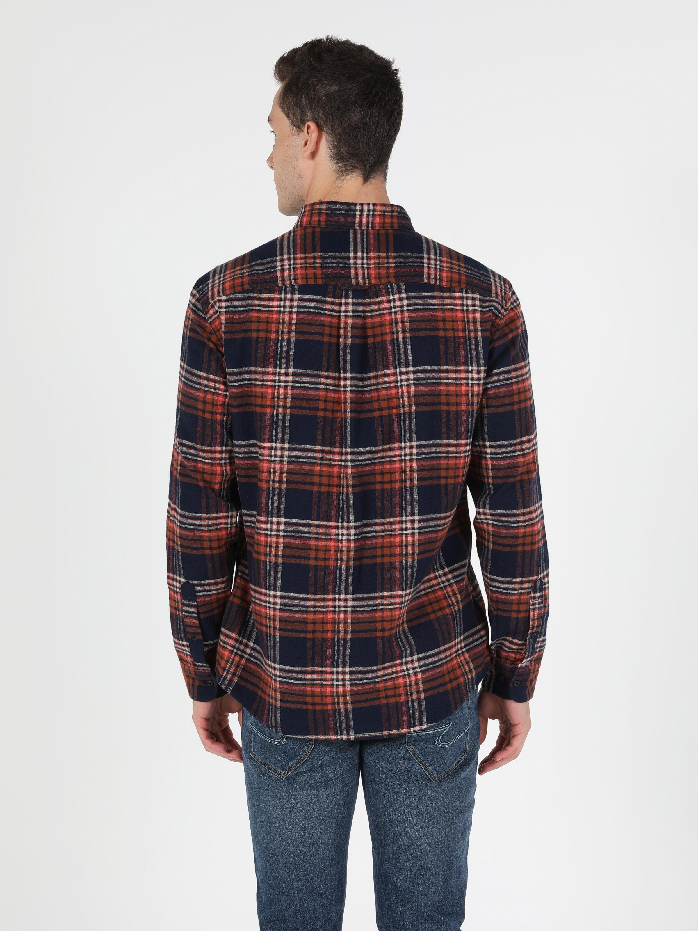 Regular Fit Shirt Neck Erkek Lacivert Uzun Kol Gömlek