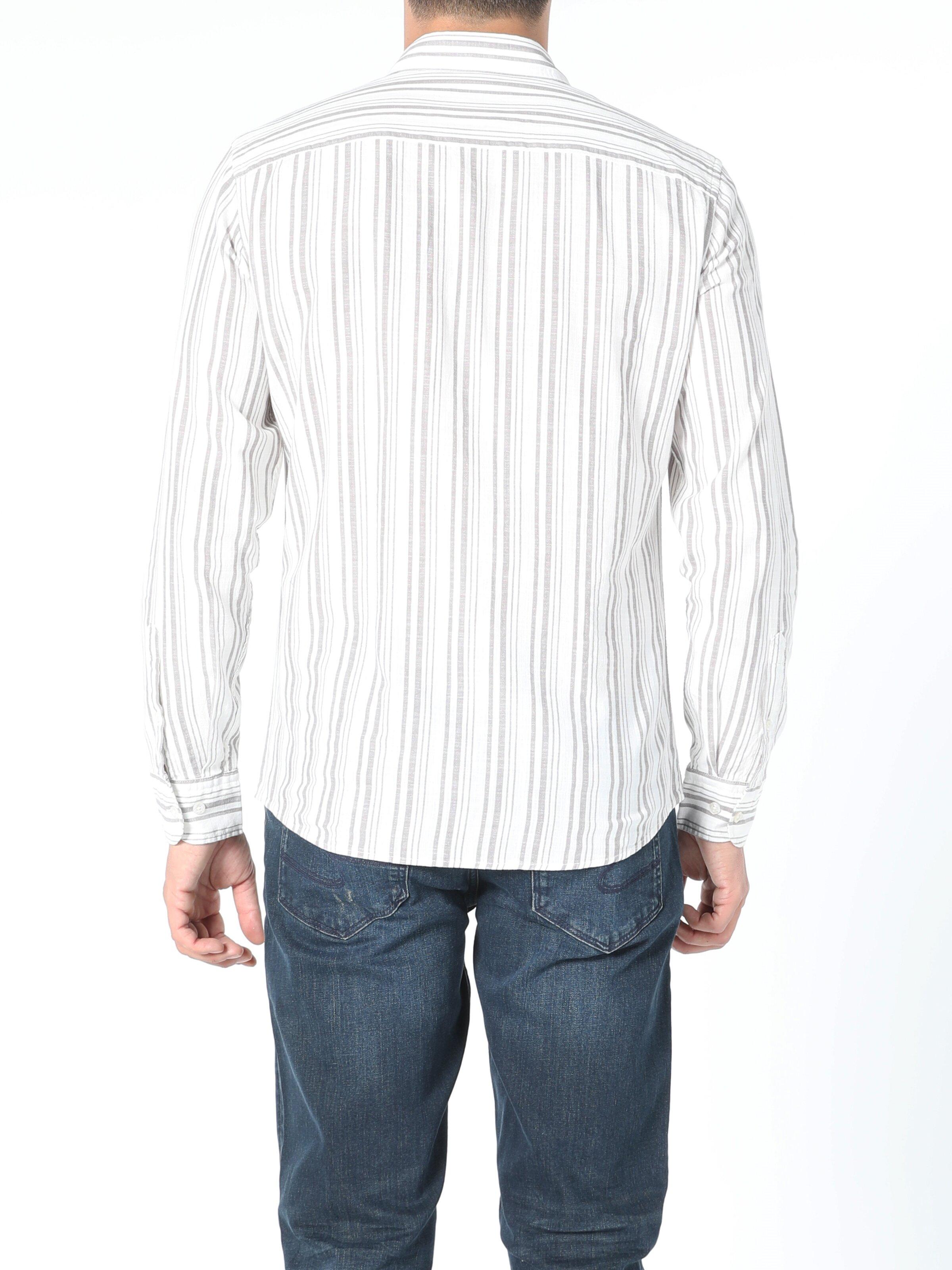 Slim Fit Erkek Beyaz Uzun Kol Gömlek