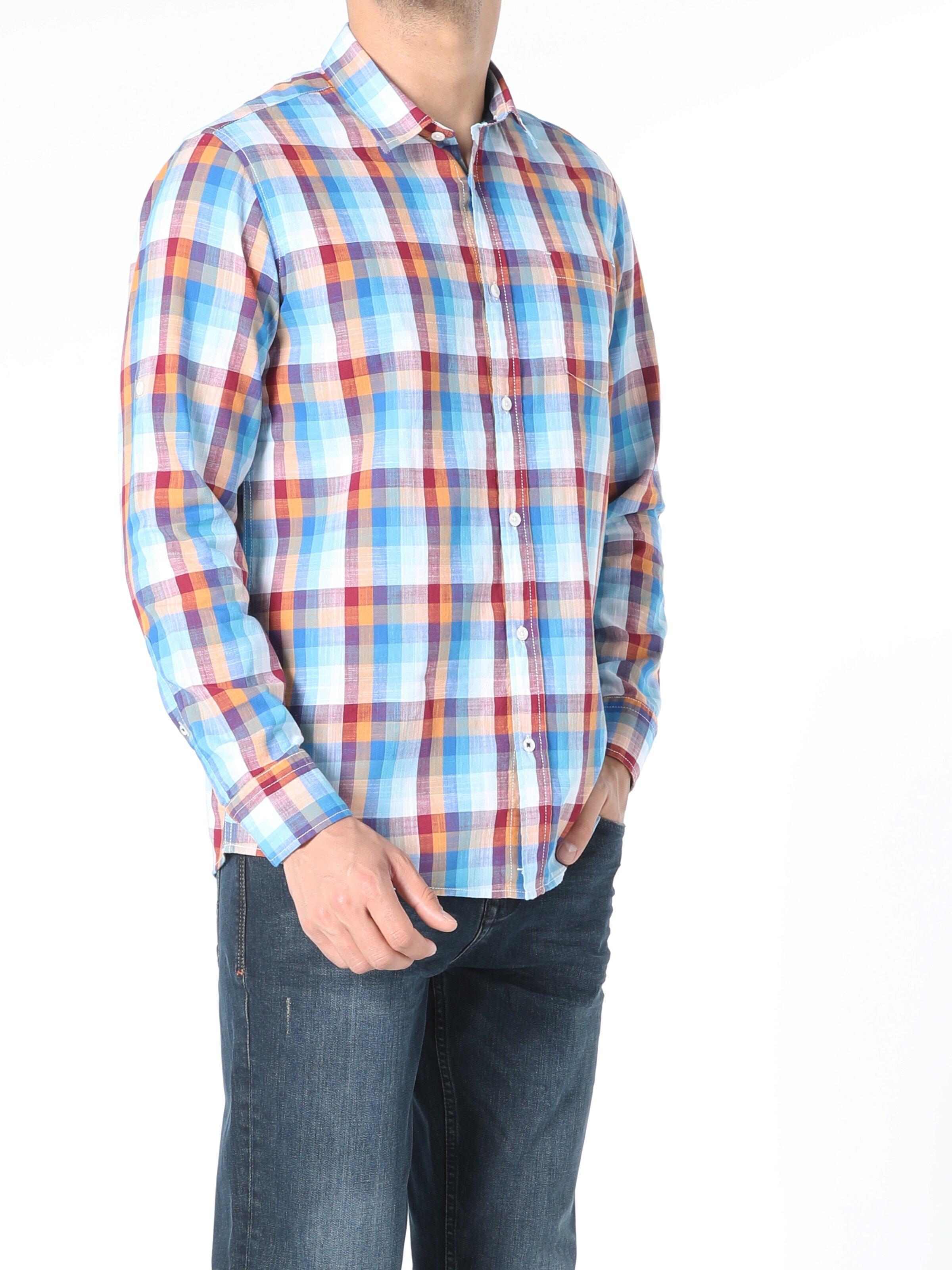 Regular Fit Erkek Çok Renkli Uzun Kol Gömlek