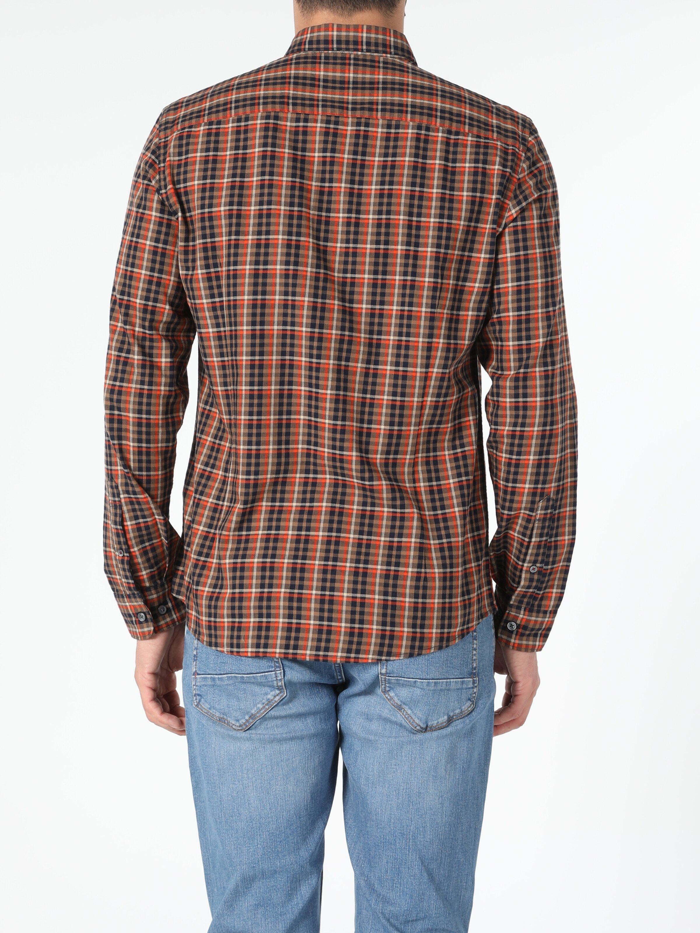 Slim Fit Haki Erkek Uzun Kol Gömlek