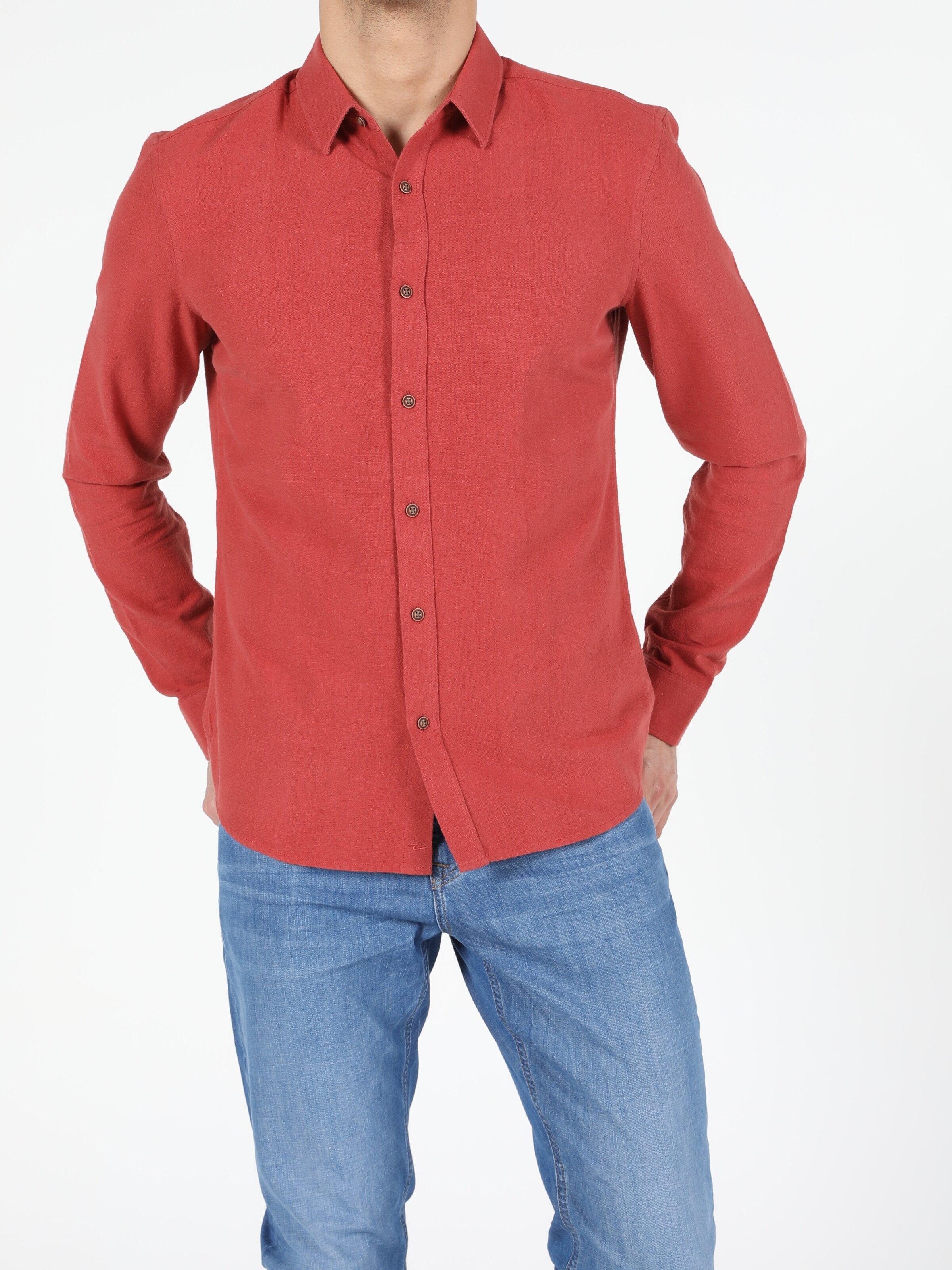 Slim Fit Erkek Kiremit Uzun Kol Gömlek
