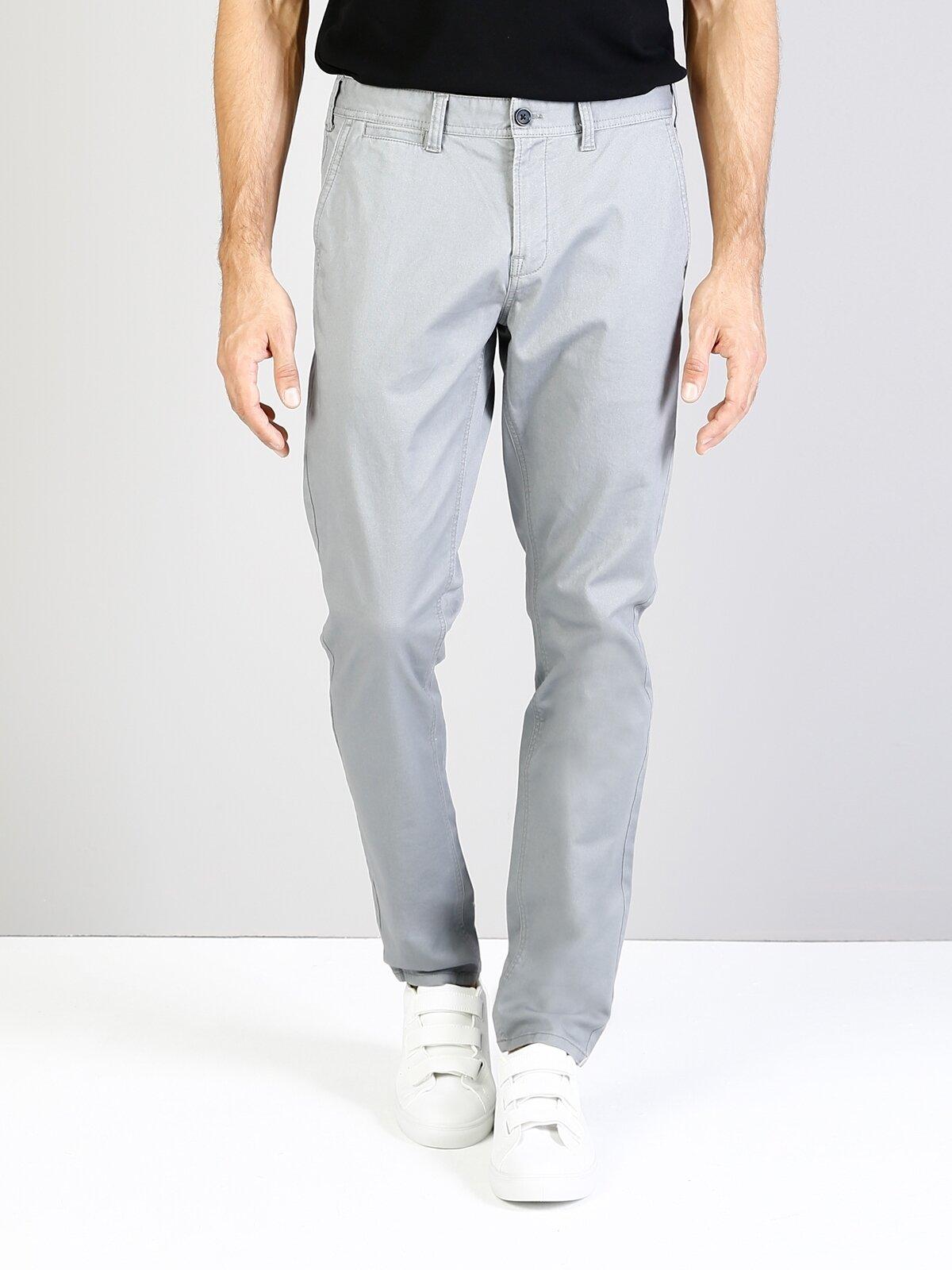 Slim Fit Gri Erkek Pantolon