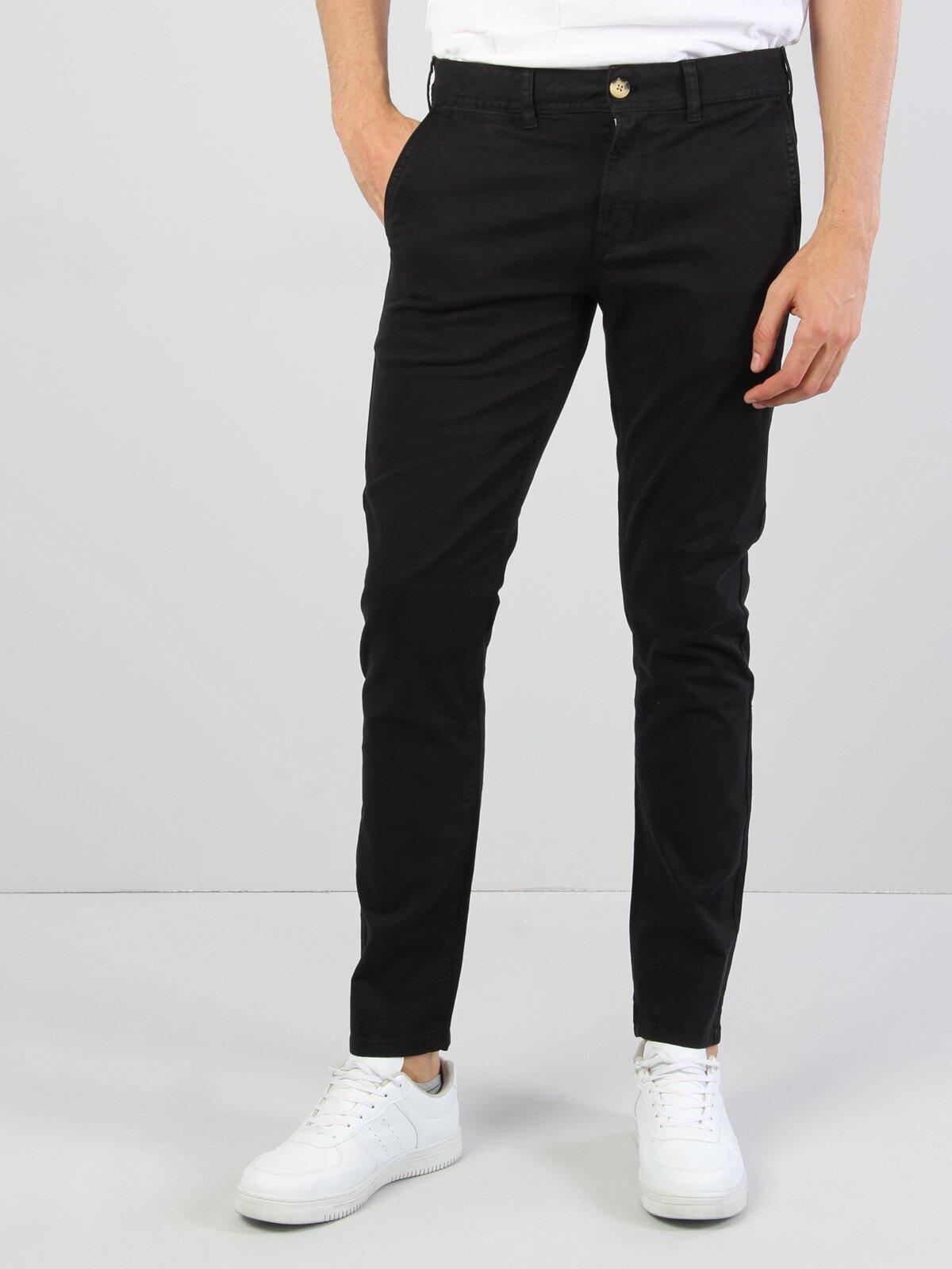 Slim Fit Orta Bel Düz Paça  Erkek Siyah Pantolon