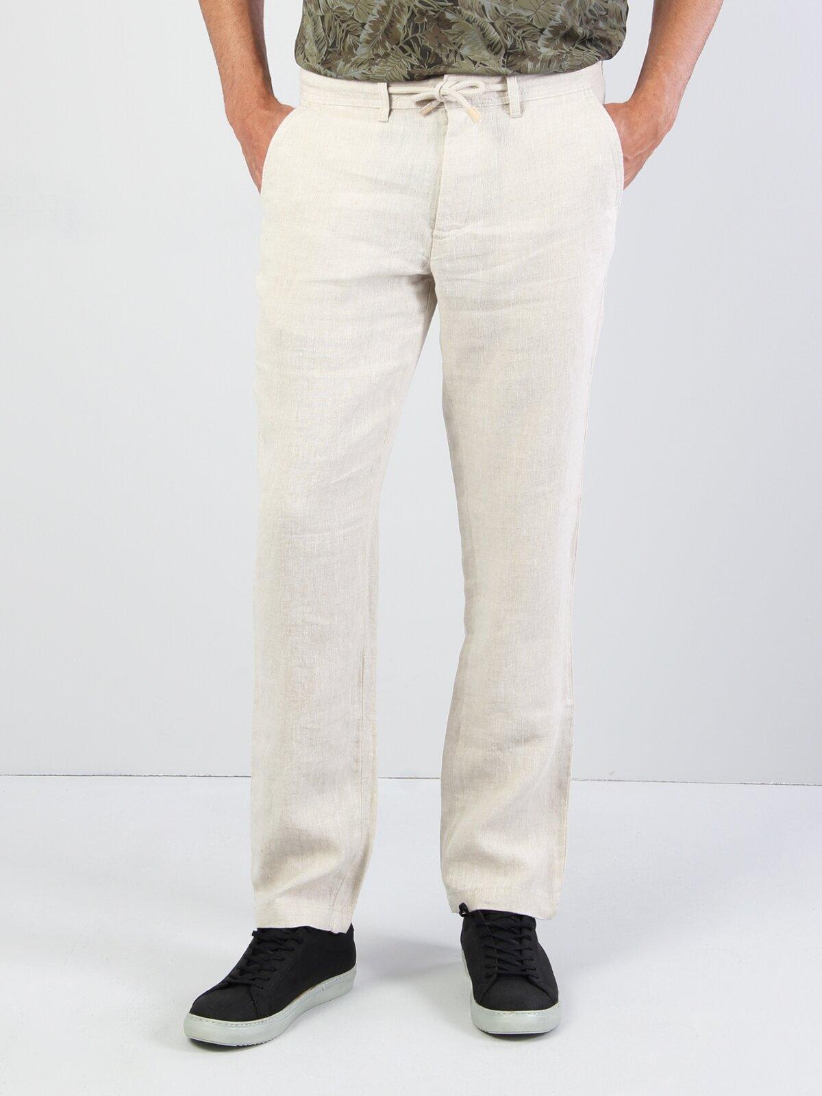 Rahat Kalıp Yüksel Bel Keten İnce Beige Erkek Pantolon