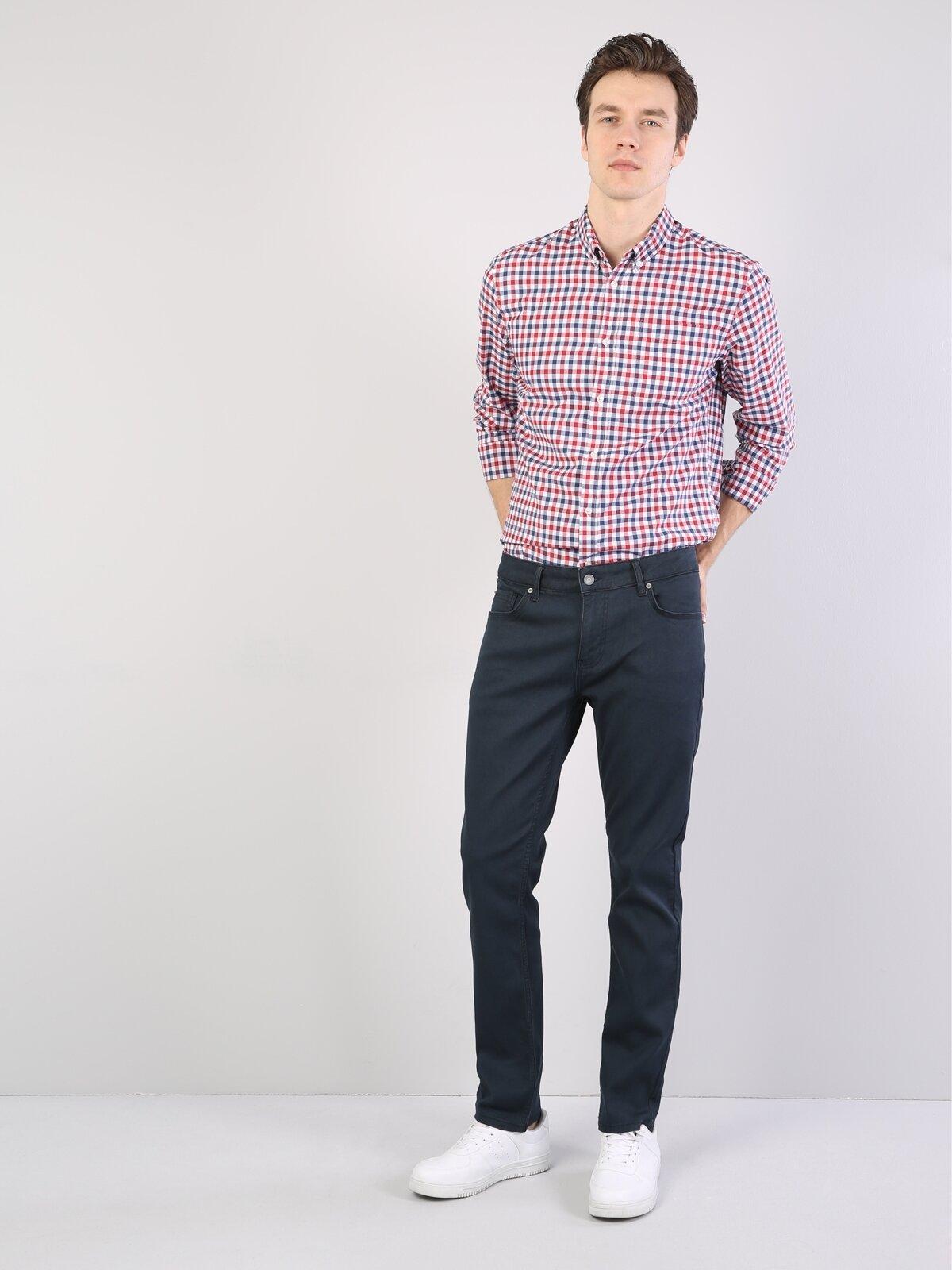 Düz Kesim Yüksek Bel Düz Paça Gri Erkek Pantolon