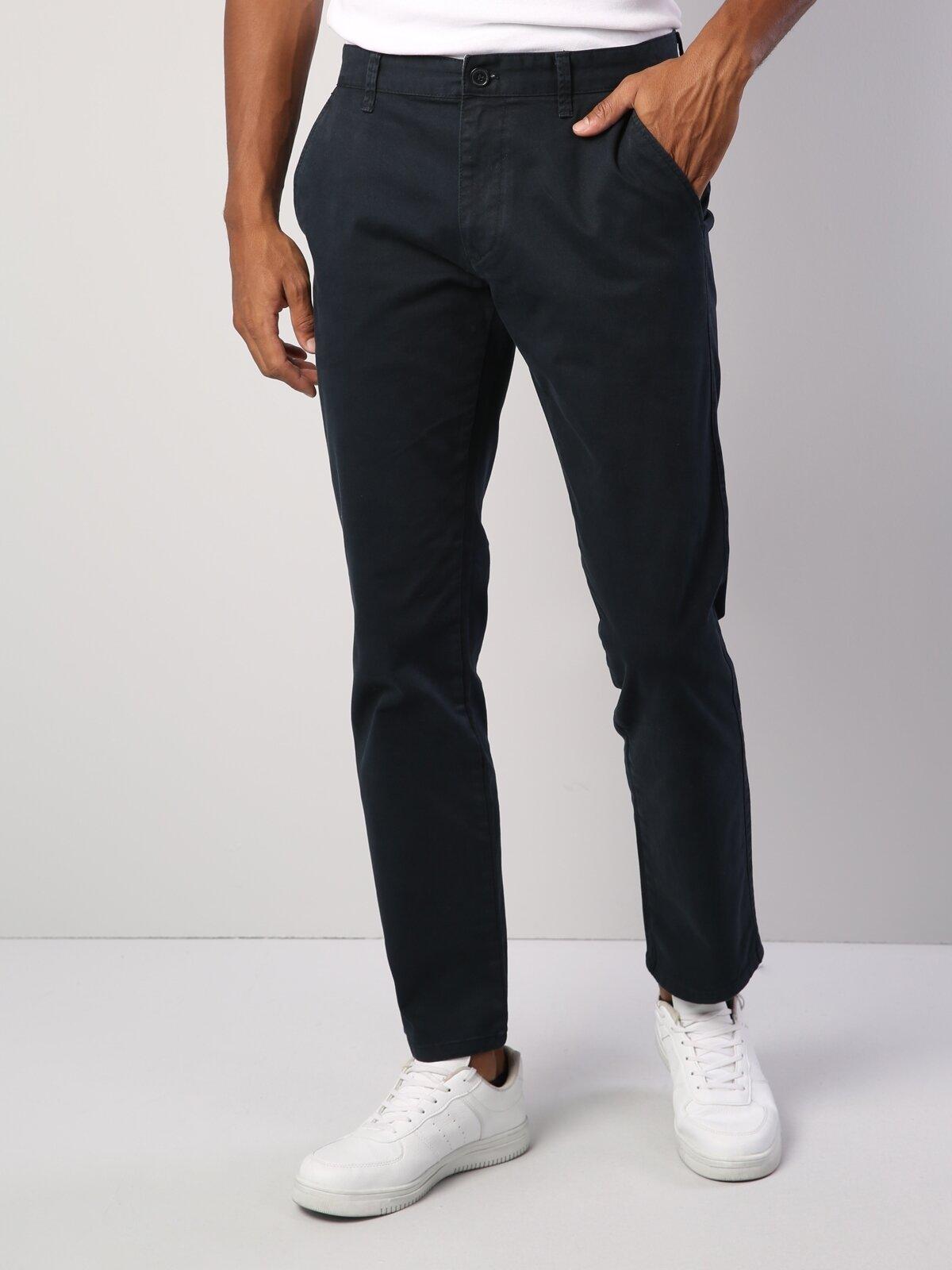 Normal Kesim Yüksek Bel Düz Paça Lacivert Erkek Pantolon