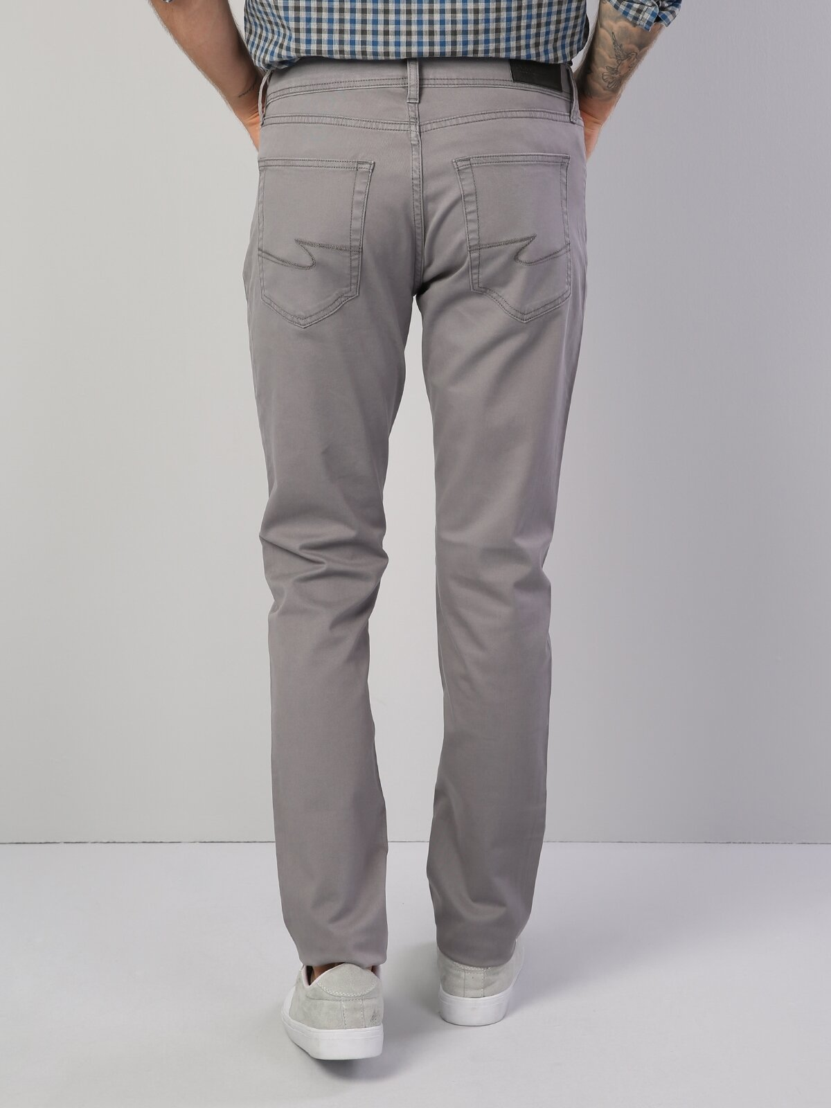 044 Karl Straight Fit Orta Bel Düz Paça  Erkek Gri Pantolon