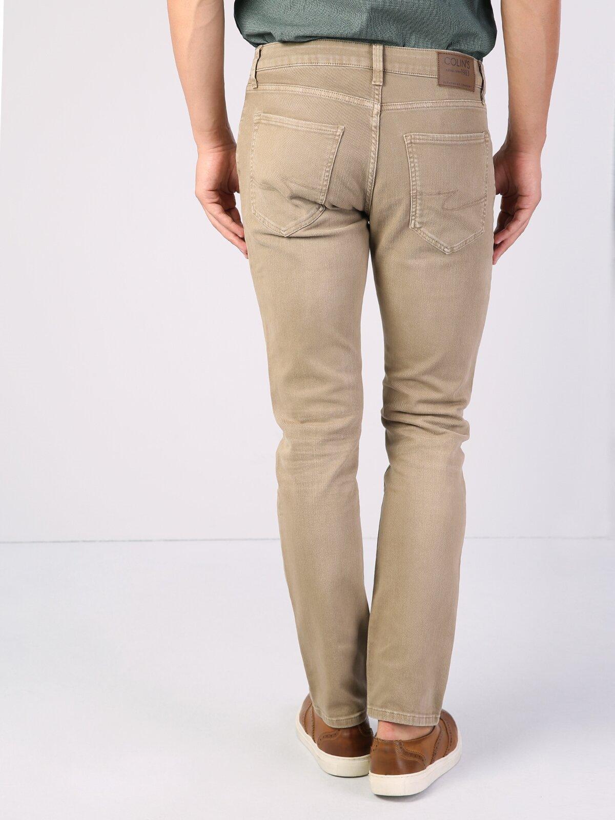 044 Karl Straight Fit Orta Bel Düz Paça  Erkek Bej Pantolon