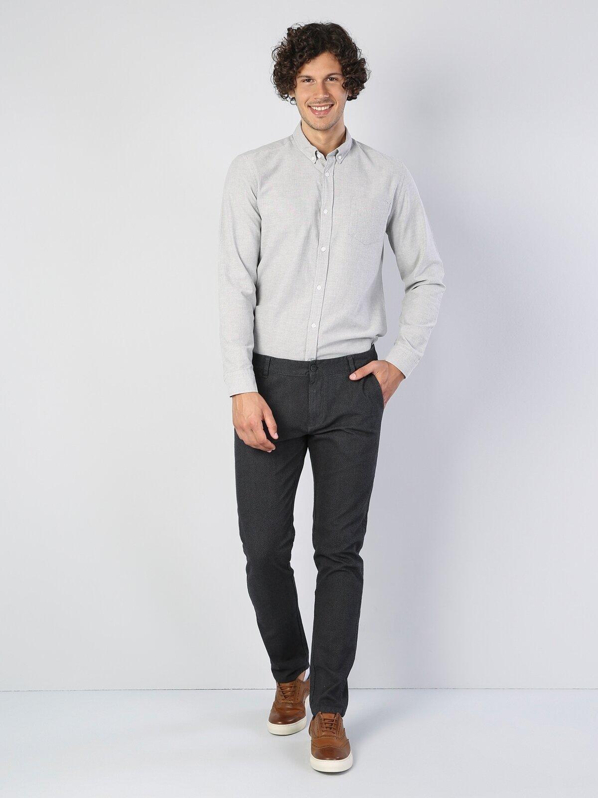 Dar Kesim Düz Paça Antrasit Erkek Pantolon
