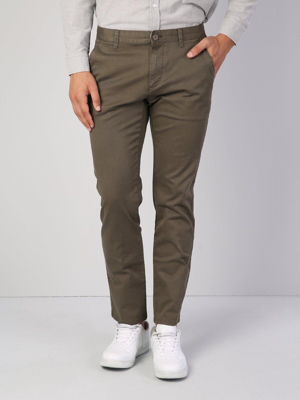 Regular Fit Orta Bel Düz Paça  Erkek Açık Haki Pantolon