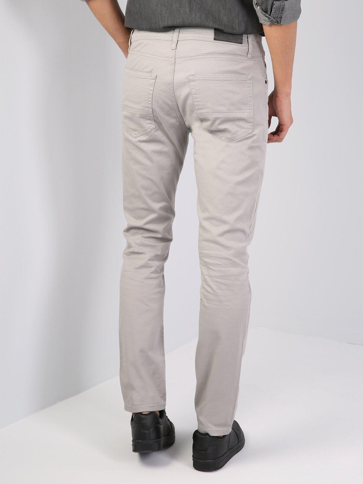 Düz Kesim Normal Bel Gri Erkek Pantolon