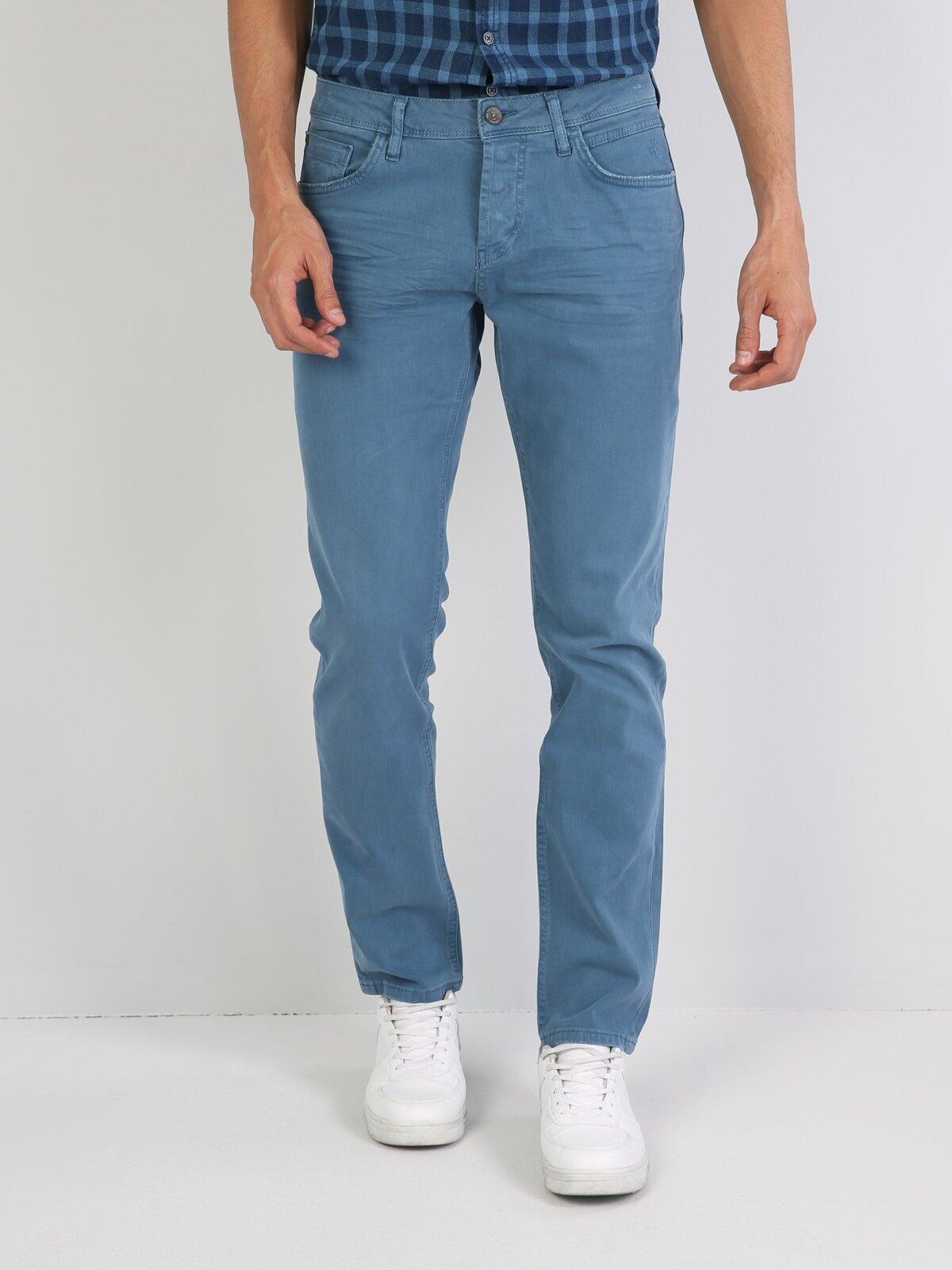 044 Karl Düz Kesim Yüksek Bel Düz Paça Mavi Erkek Pantolon