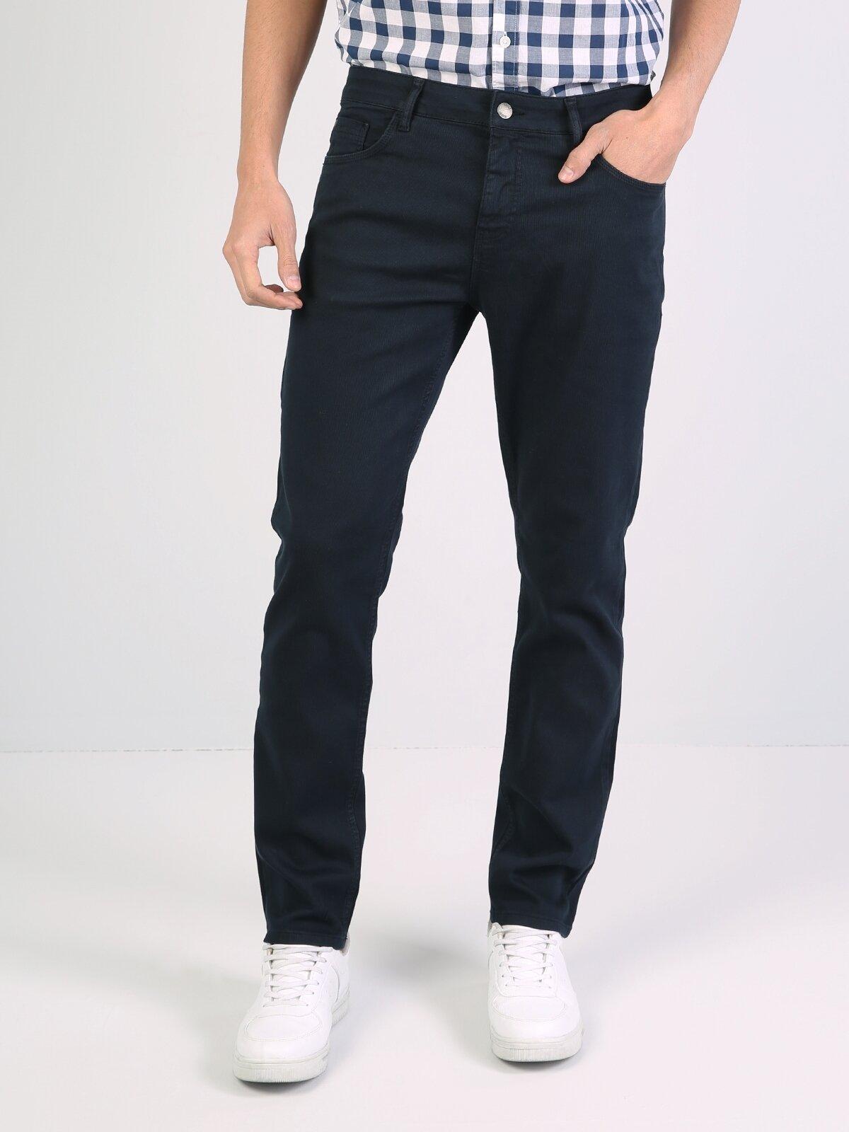 Straight Fit Orta Bel Düz Paça  Erkek Lacivert Pantolon