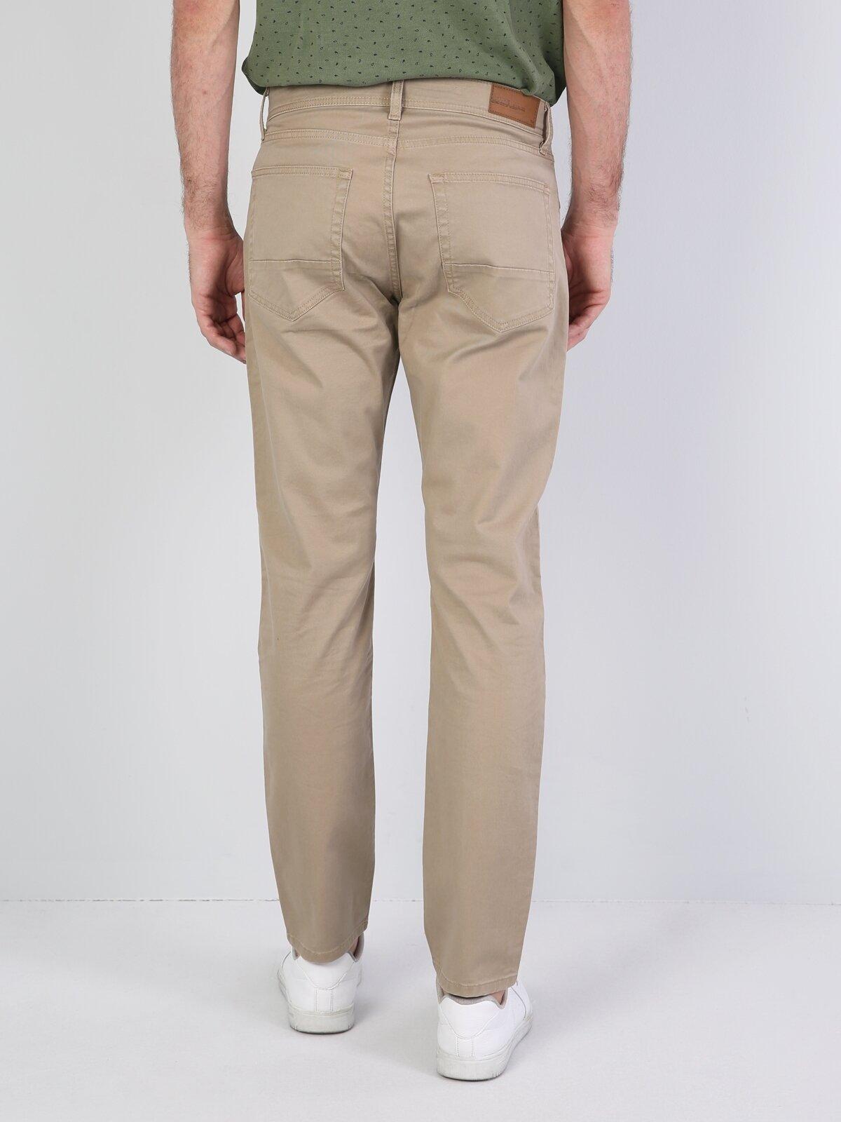 Düz Kesim Normal Bel Sarı Erkek Pantolon