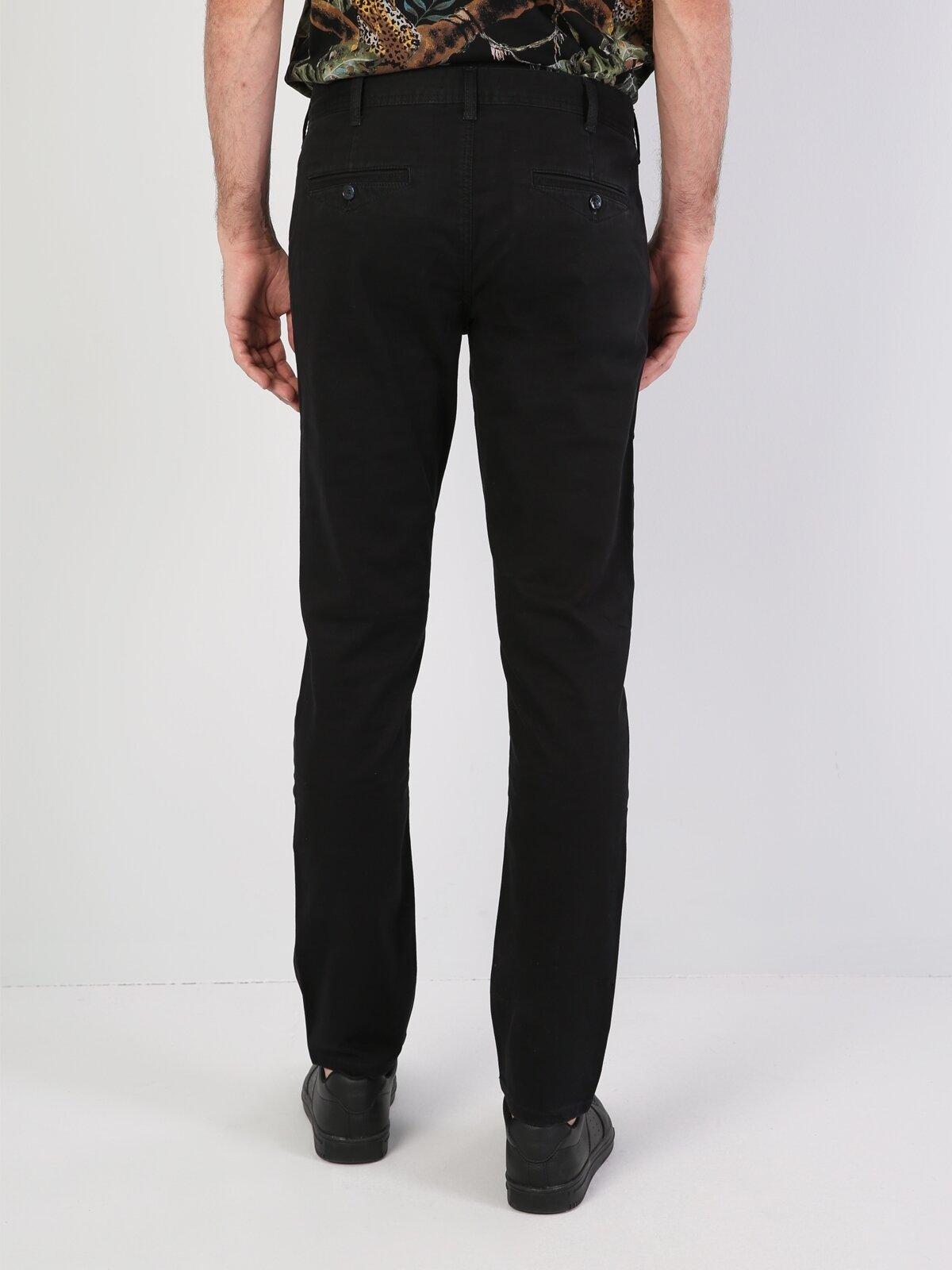 Slim Fit Orta Bel Slim Leg  Erkek Siyah Pantolon