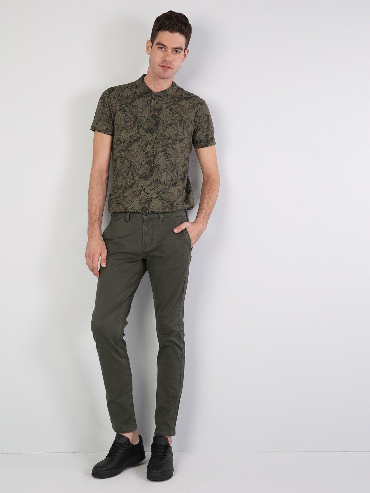 Slim Fit Orta Bel Slim Leg Erkek Haki Pantolon