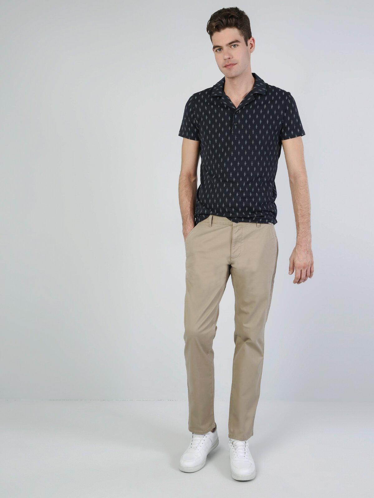 Rahat Kalıp Yüksel Bel Düz Paça Sarı Erkek Gabardin Pantolon