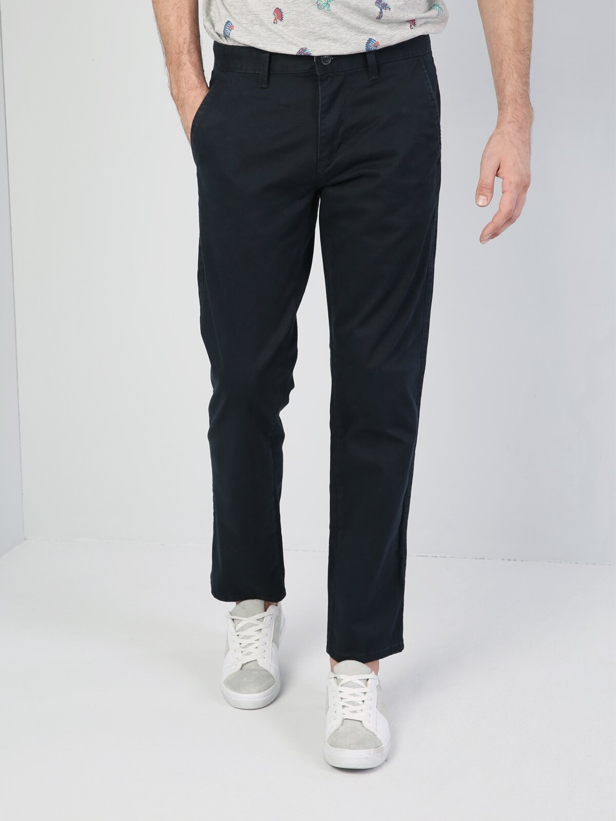 Regular Fit Orta Bel Düz Paça Lacivert Erkek Gabardin Pantolon