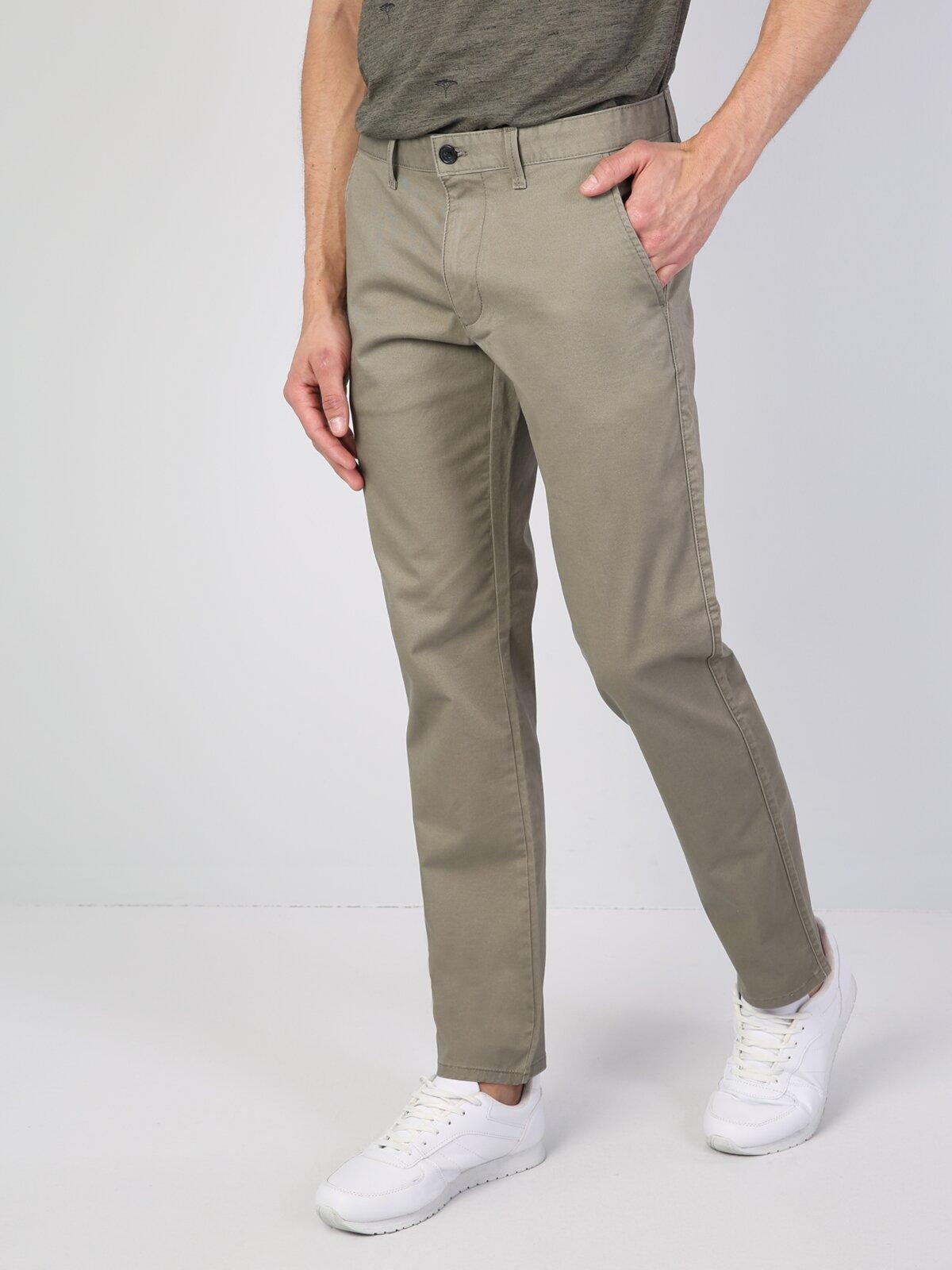 Rahat Kalıp Yüksel Bel Düz Paça Gri Erkek Gabardin Pantolon