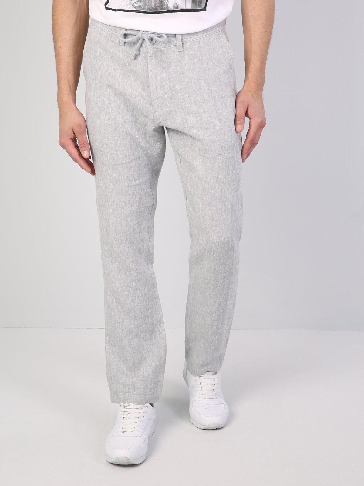 Regular Fit Orta Bel Düz Paça  Erkek Gri Pantolon