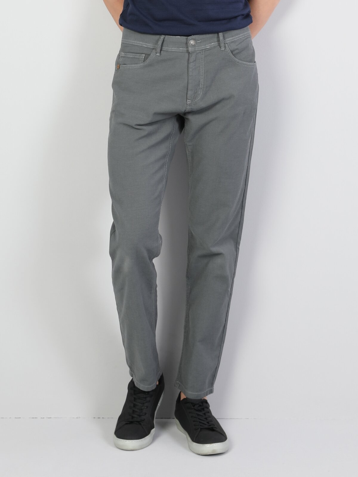 Straight Fit Orta Bel Düz Paça  Erkek Yeşil Pantolon