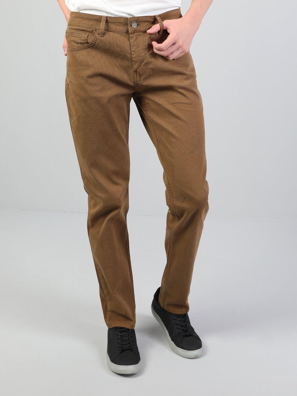 Straight Fit Orta Bel Düz Paça  Erkek Camel Pantolon