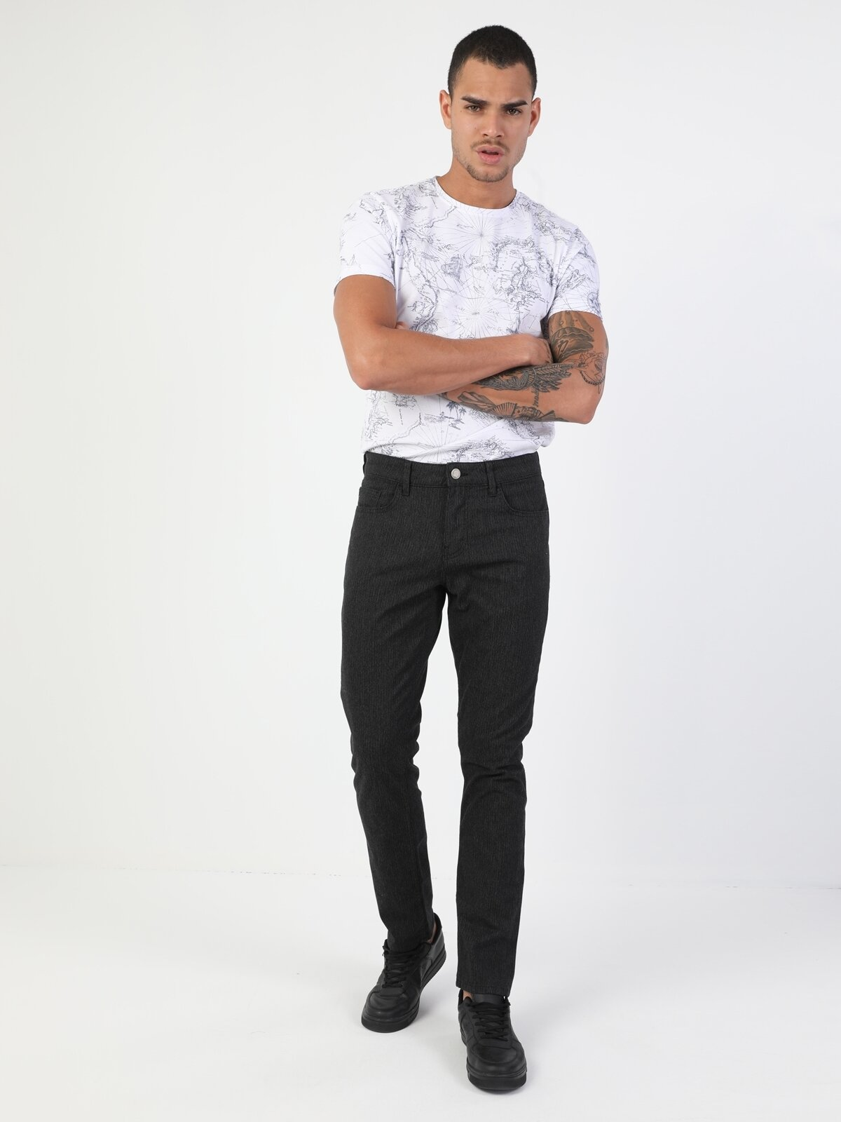 Düz Paça Normal Bel Antrasit Chino Erkek Pantolon