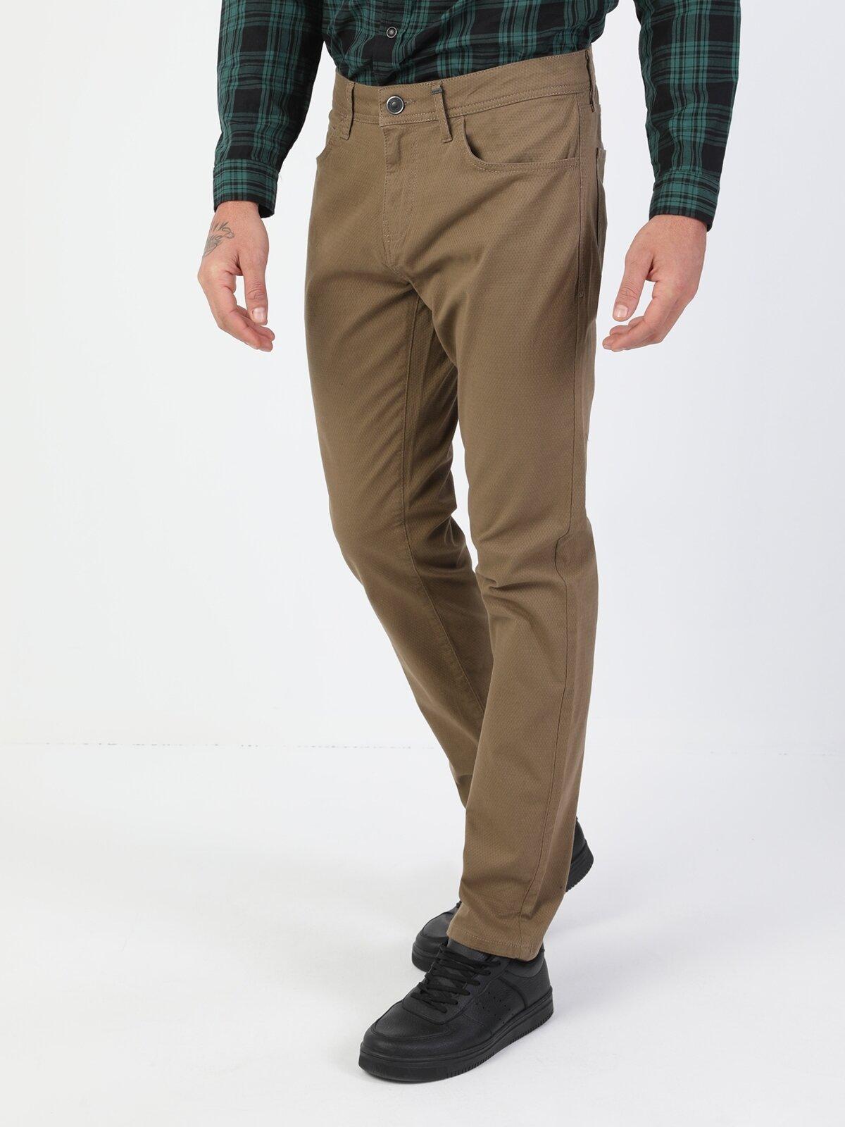 Düz Paça Normal Bel Sarı Chino Erkek Pantolon