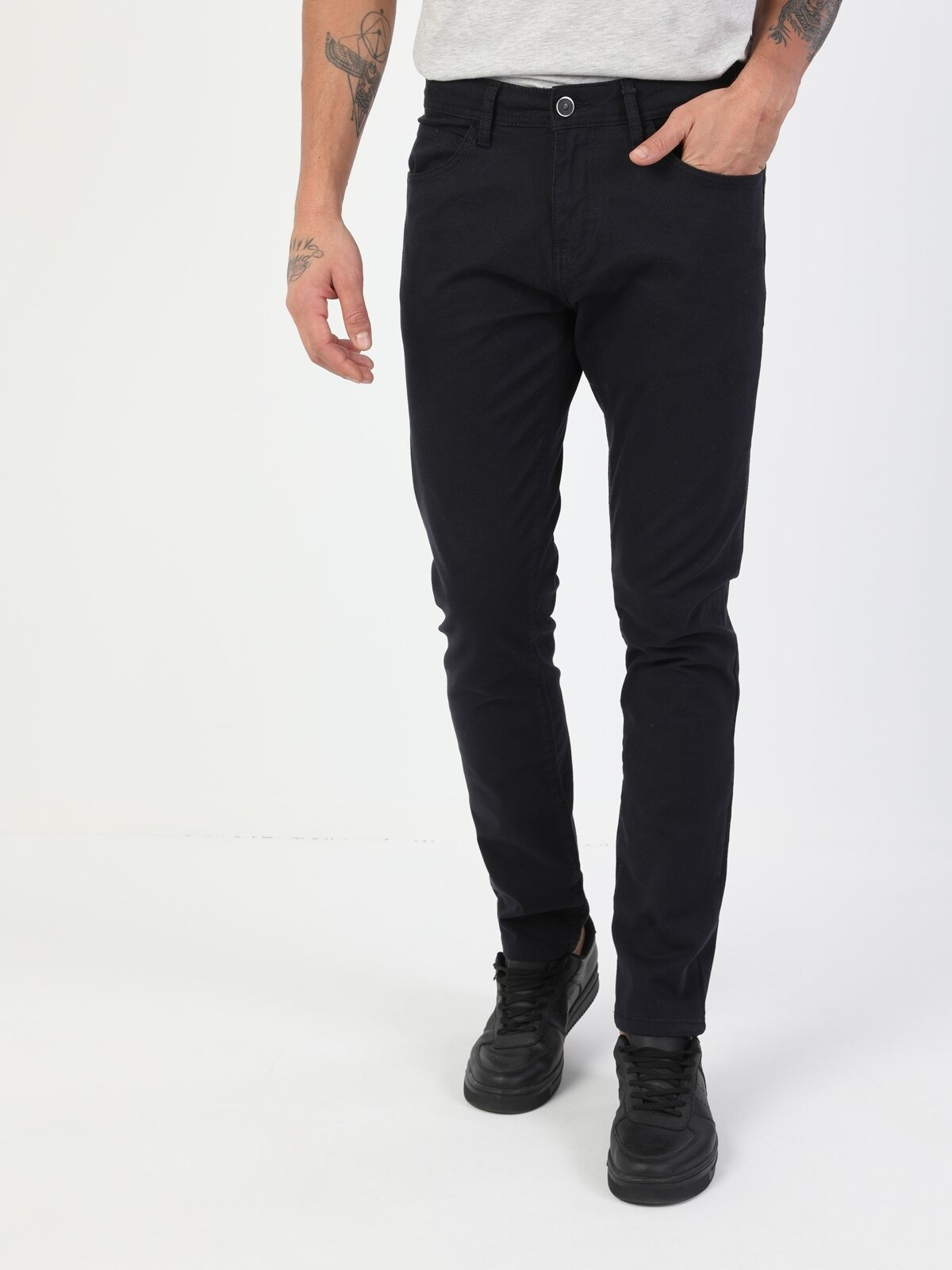 Düz Paça Normal Bel Lacivert Chino Erkek Pantolon