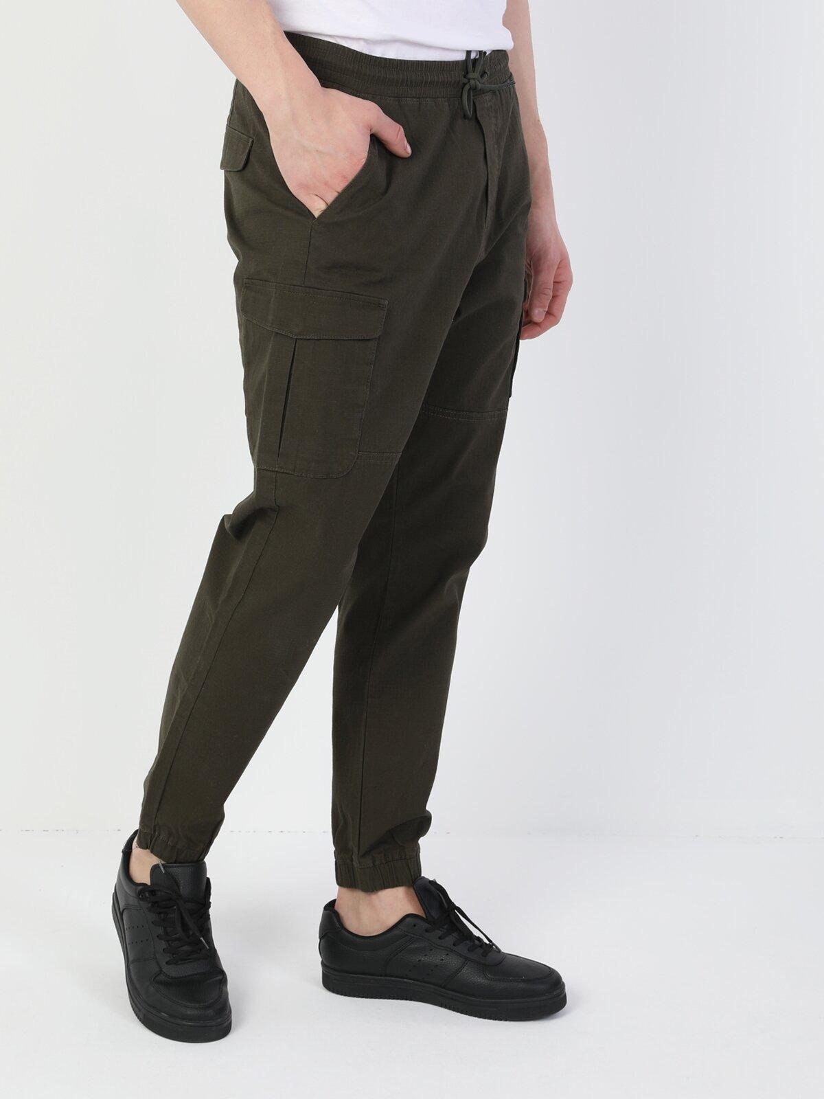 Dar Kesim Bağcık Detaylı Haki Erkek Kargo Pantolon