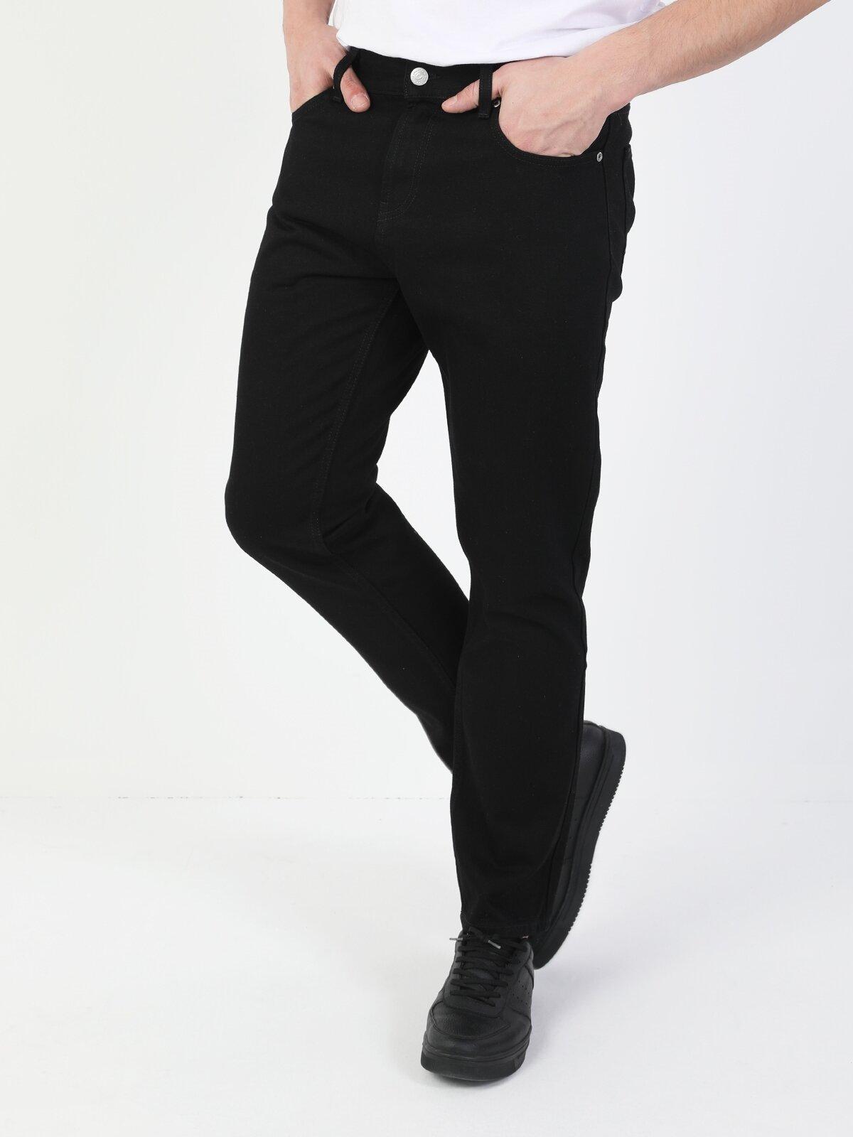 044 Karl Düz Kesim Siyah Erkek  Erkek Jean Pantolon