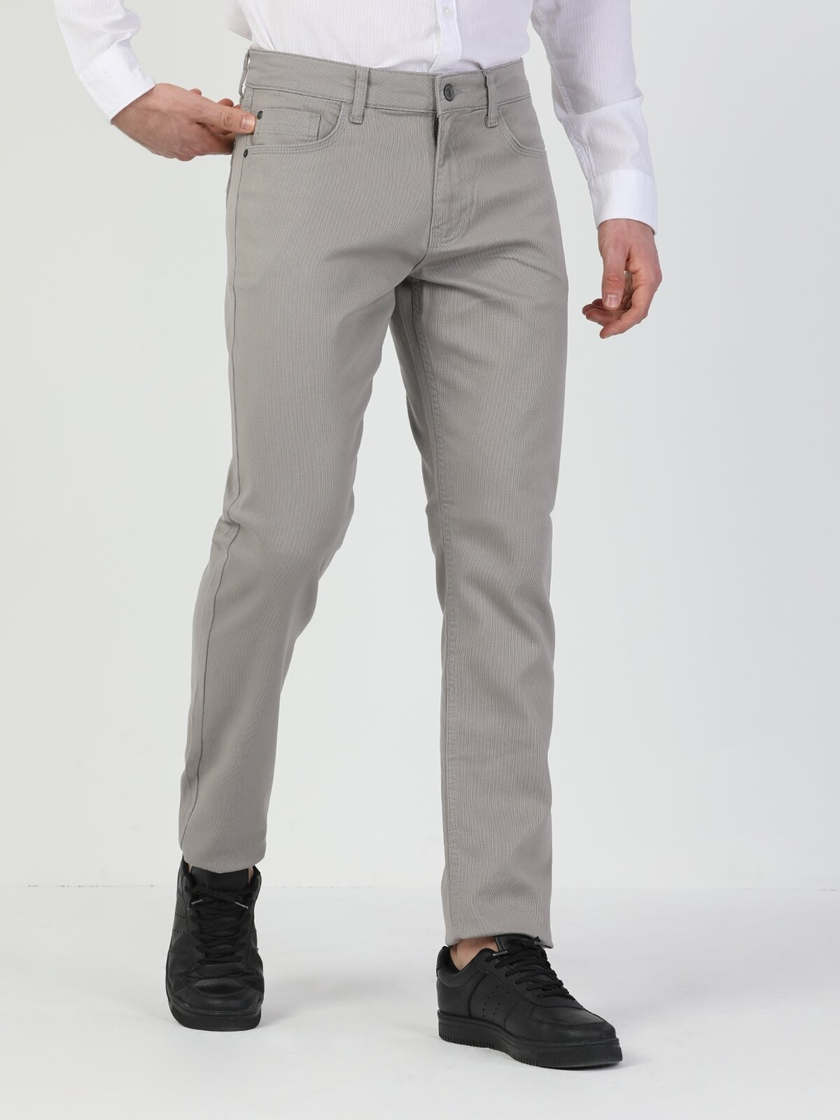 Straight Fit Orta Bel Düz Paça  Erkek Taş Pantolon