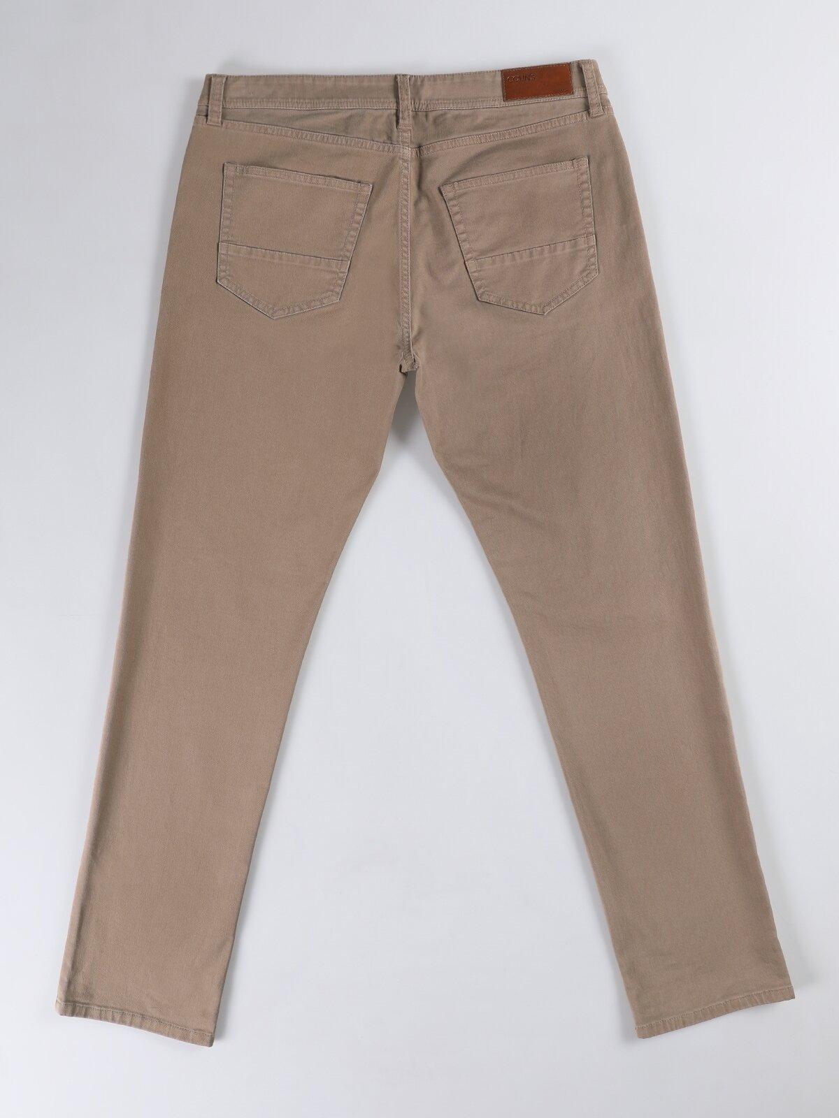 Straight Fit Düz Paça Düşük Bel Camel Erkek Pantolon