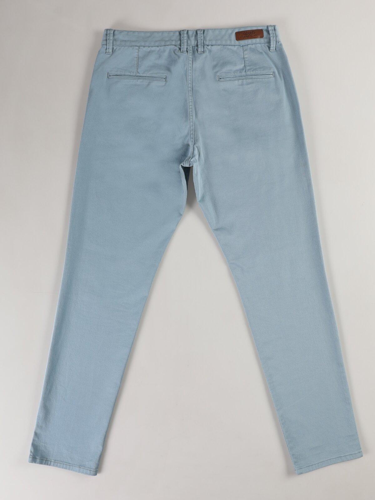 Slim Fit Düz Paça Yüksek Bel Açık Mavi Erkek Pantolon