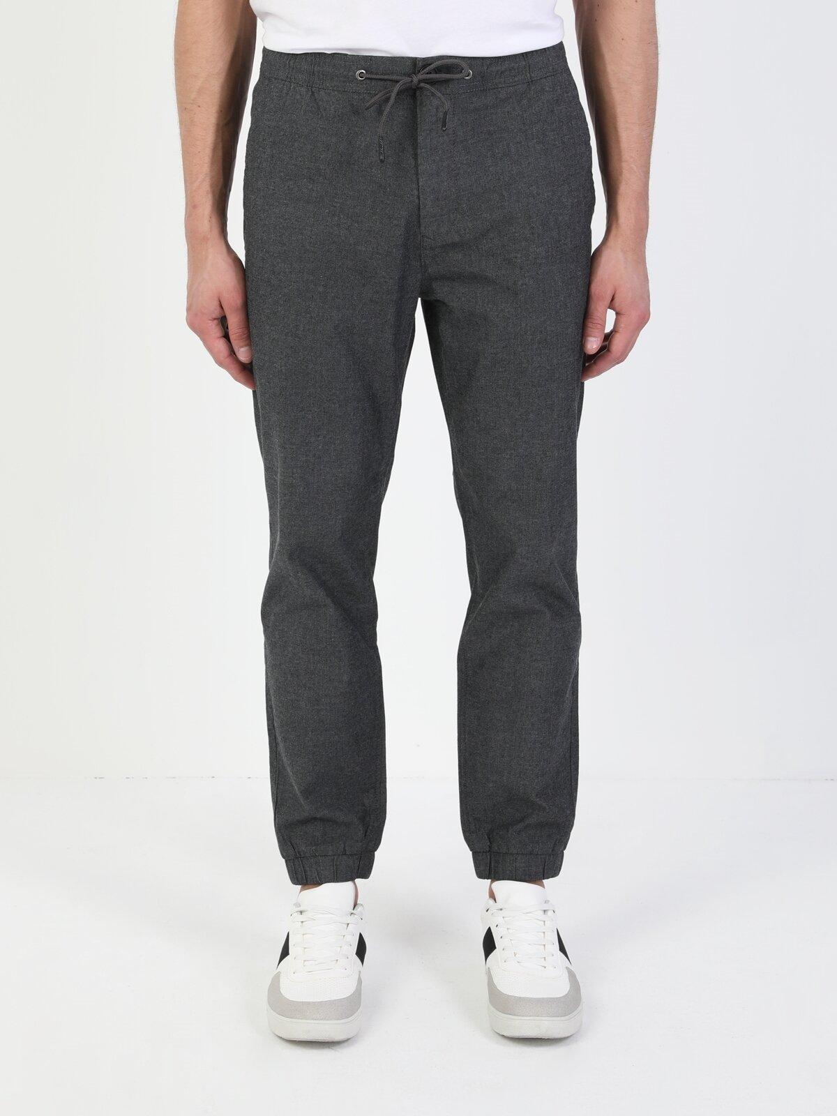 Slim Fit Orta Bel Lastikli  Erkek Antrasit Pantolon