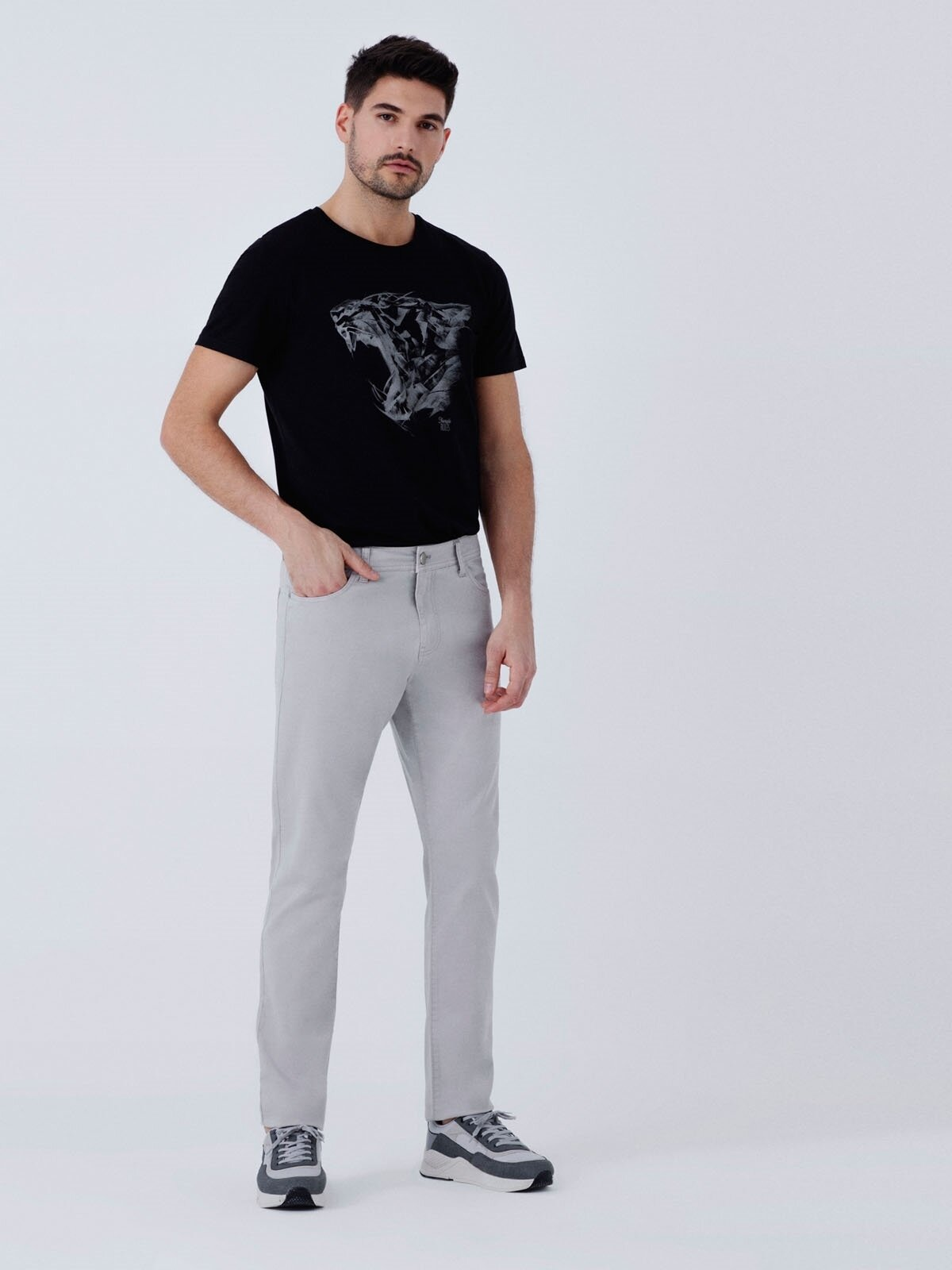 Straight Fit Düşük Bel Düz Paça  Erkek Taş Pantolon