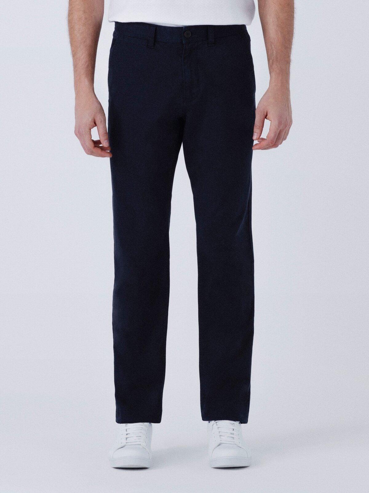 Regular Fit Düz Paça Yüksek Bel Lacivert Erkek Pantolon