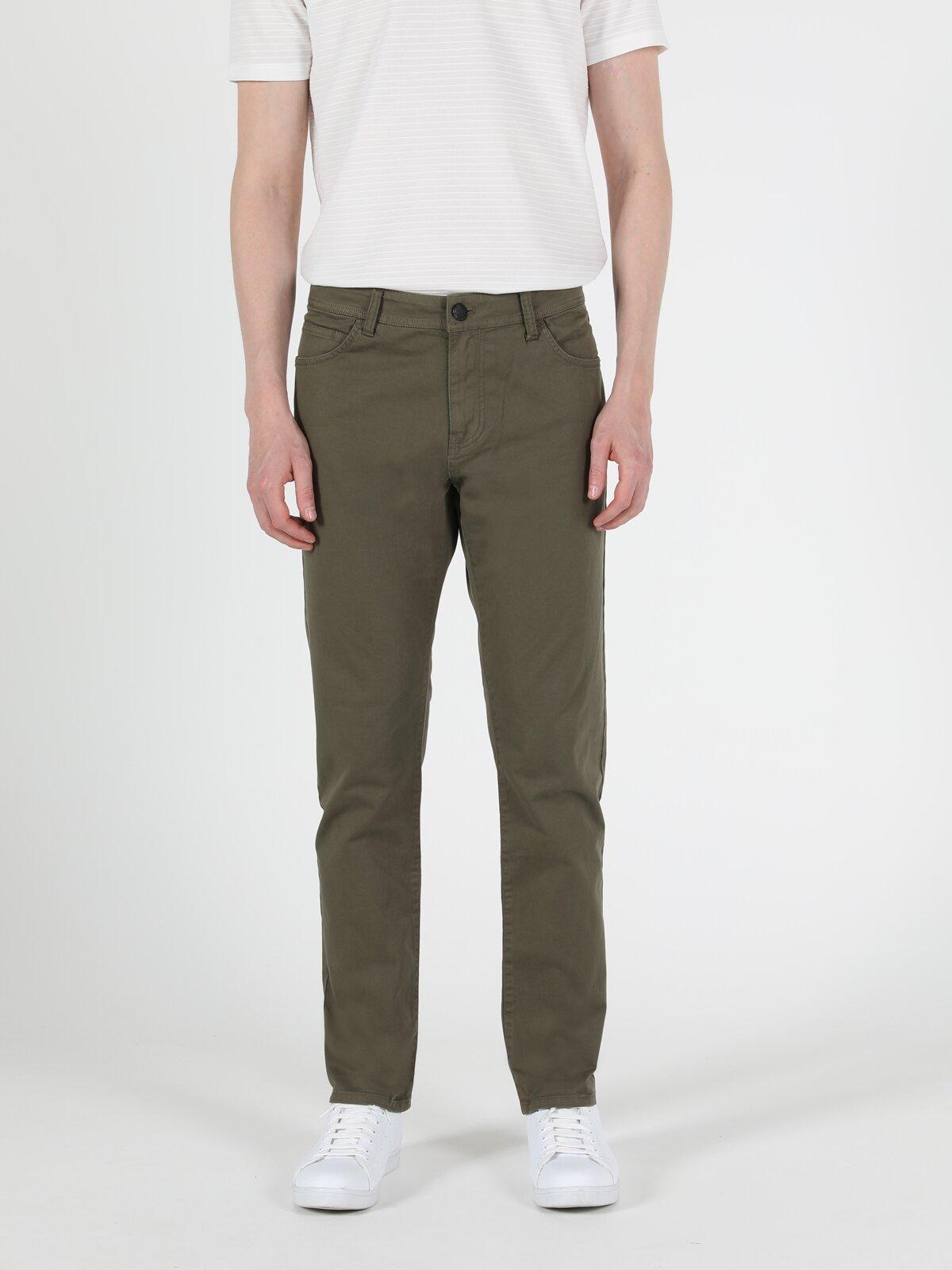 Straight Fit Düşük Bel Düz Paça  Erkek Haki Pantolon