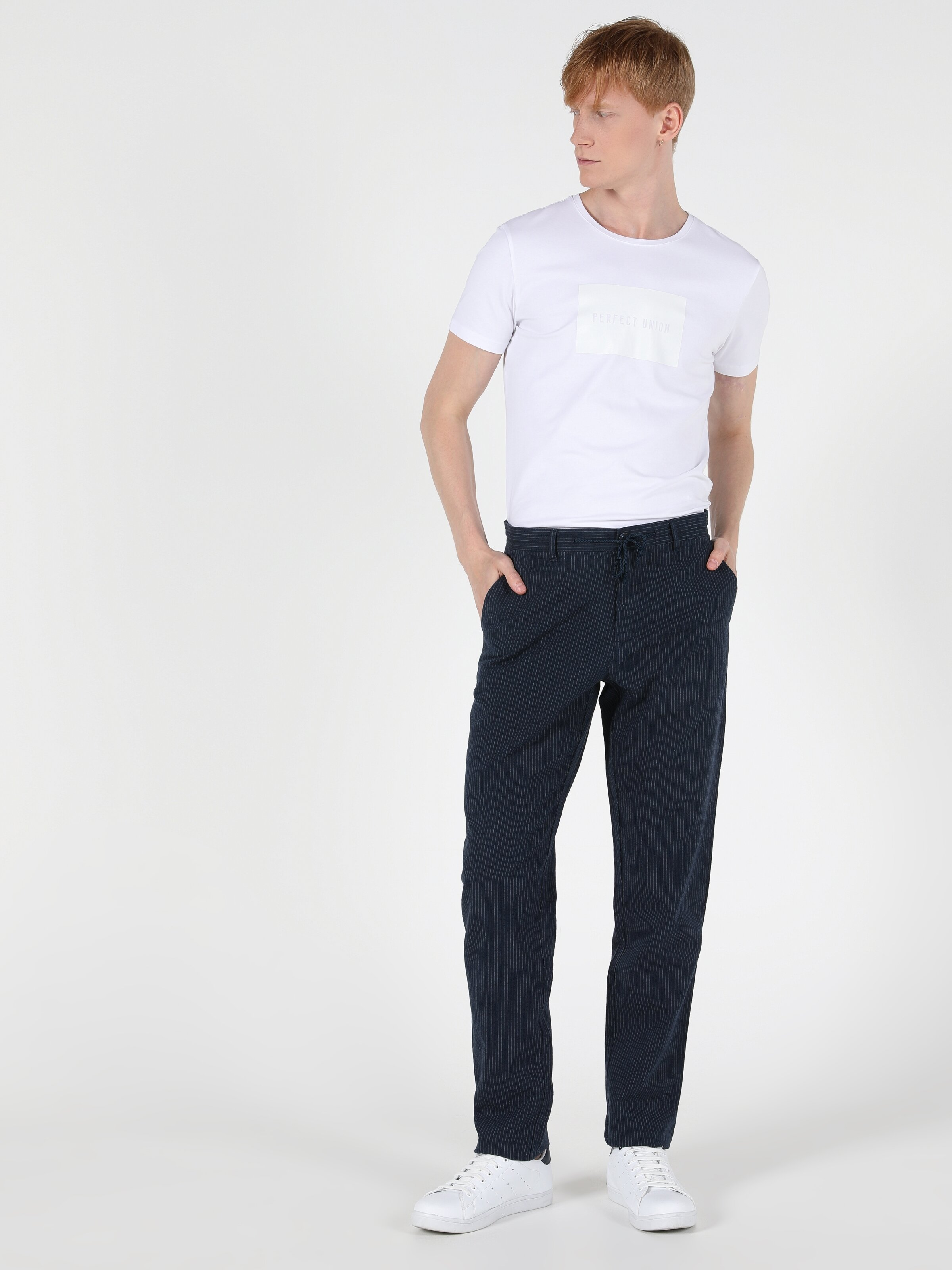 Regular Fit Orta Bel Düz Paça  Erkek Lacivert Pantolon