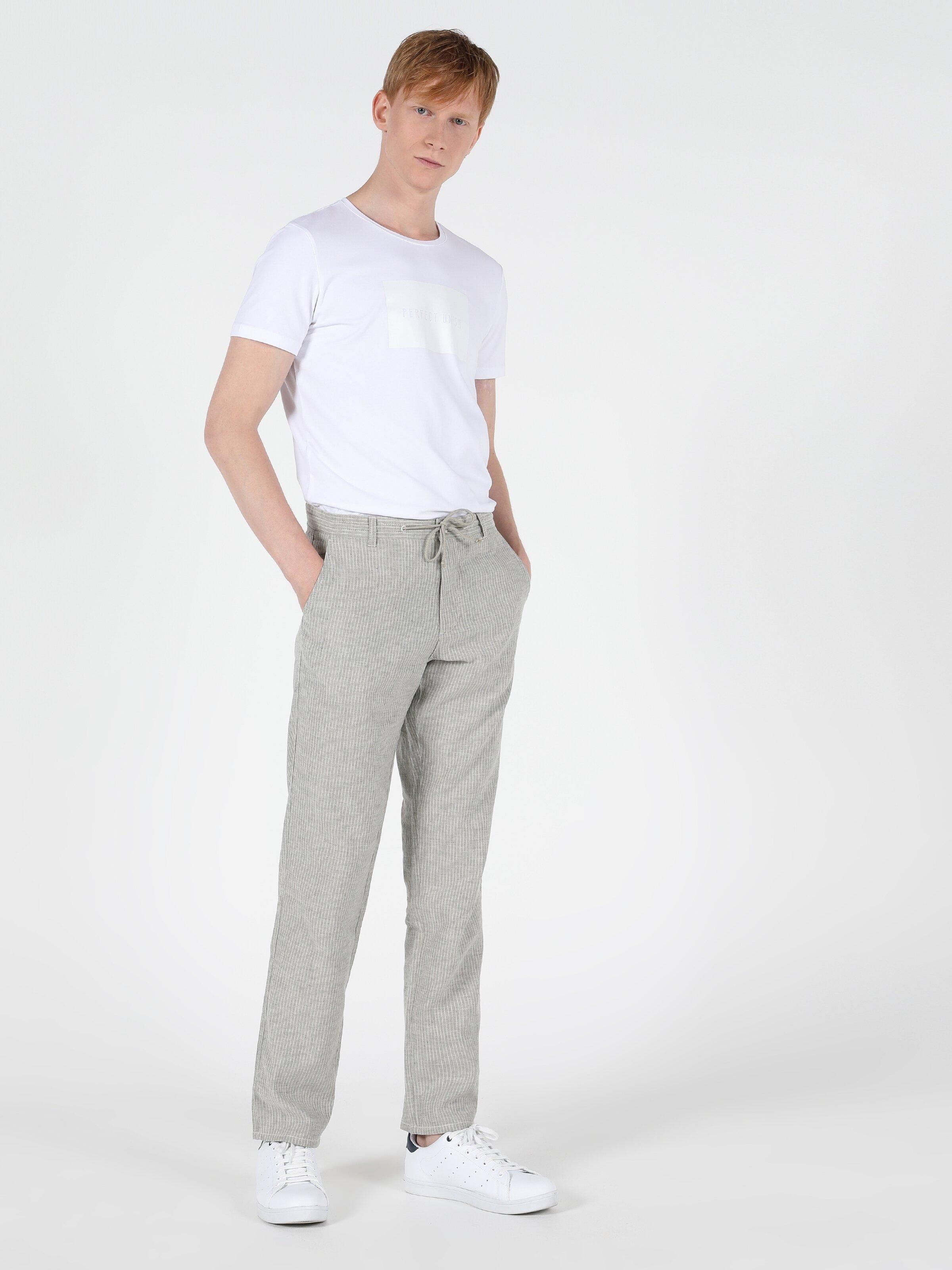 Regular Fit Düz Paça Yüksek Bel Gri Erkek Pantolon
