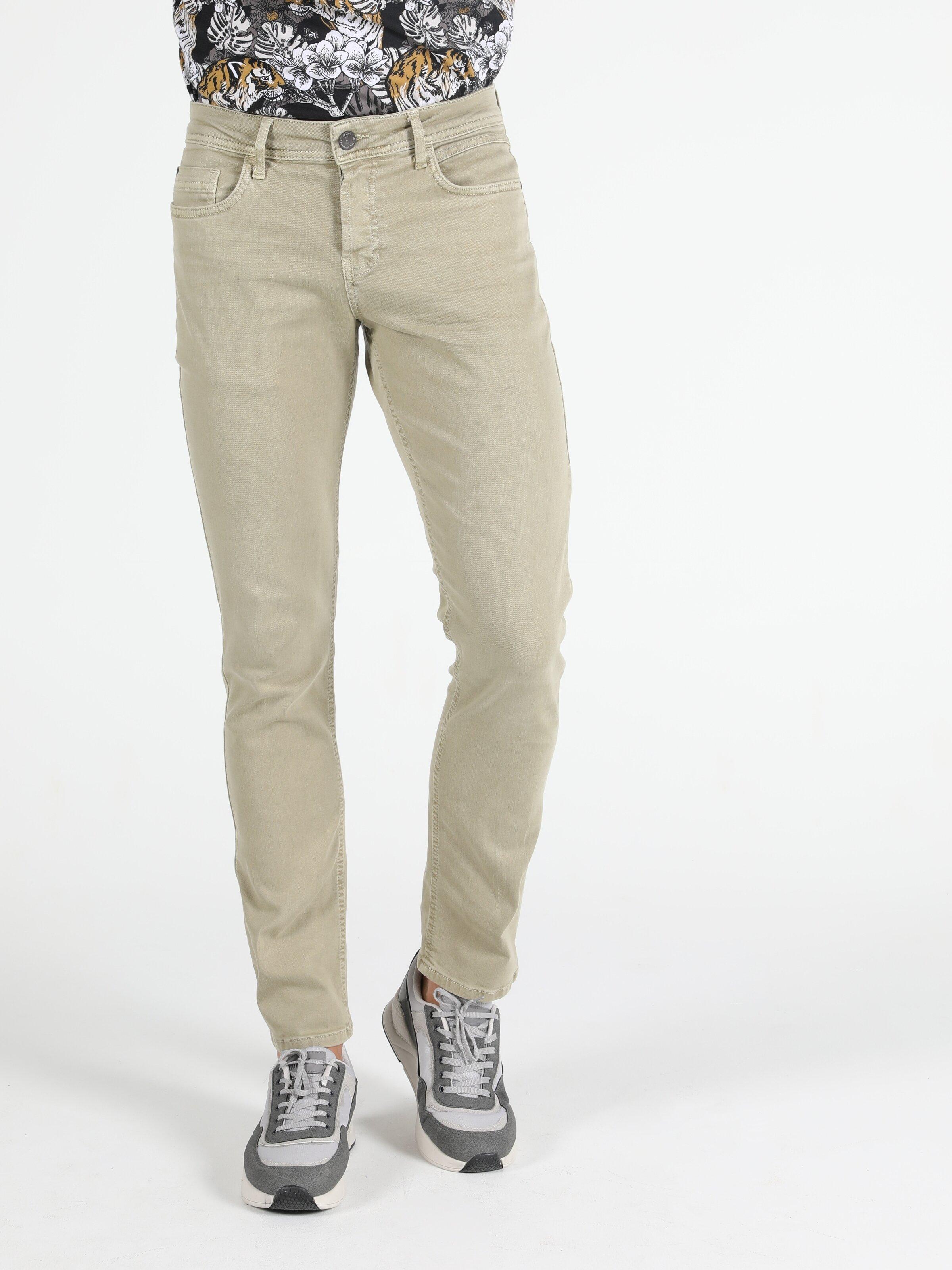 Straight Fit Düz Paça Yüksek Bel Haki Erkek Pantolon