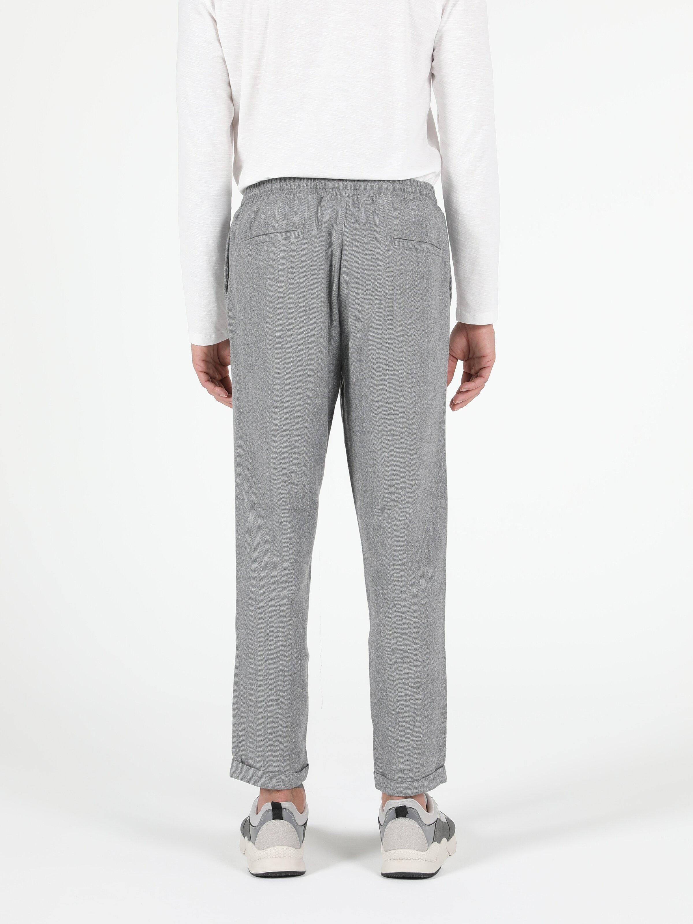 Slim Fit Orta Bel Slim Leg Erkek Gri Pantolon
