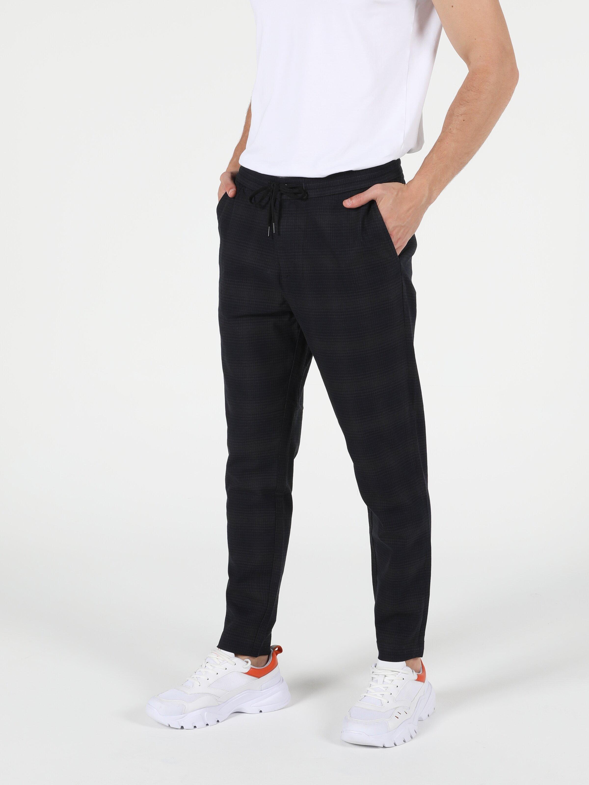 Orta Bel Düz Paça Slim Fit Lacivert Erkek Jean Pantolon