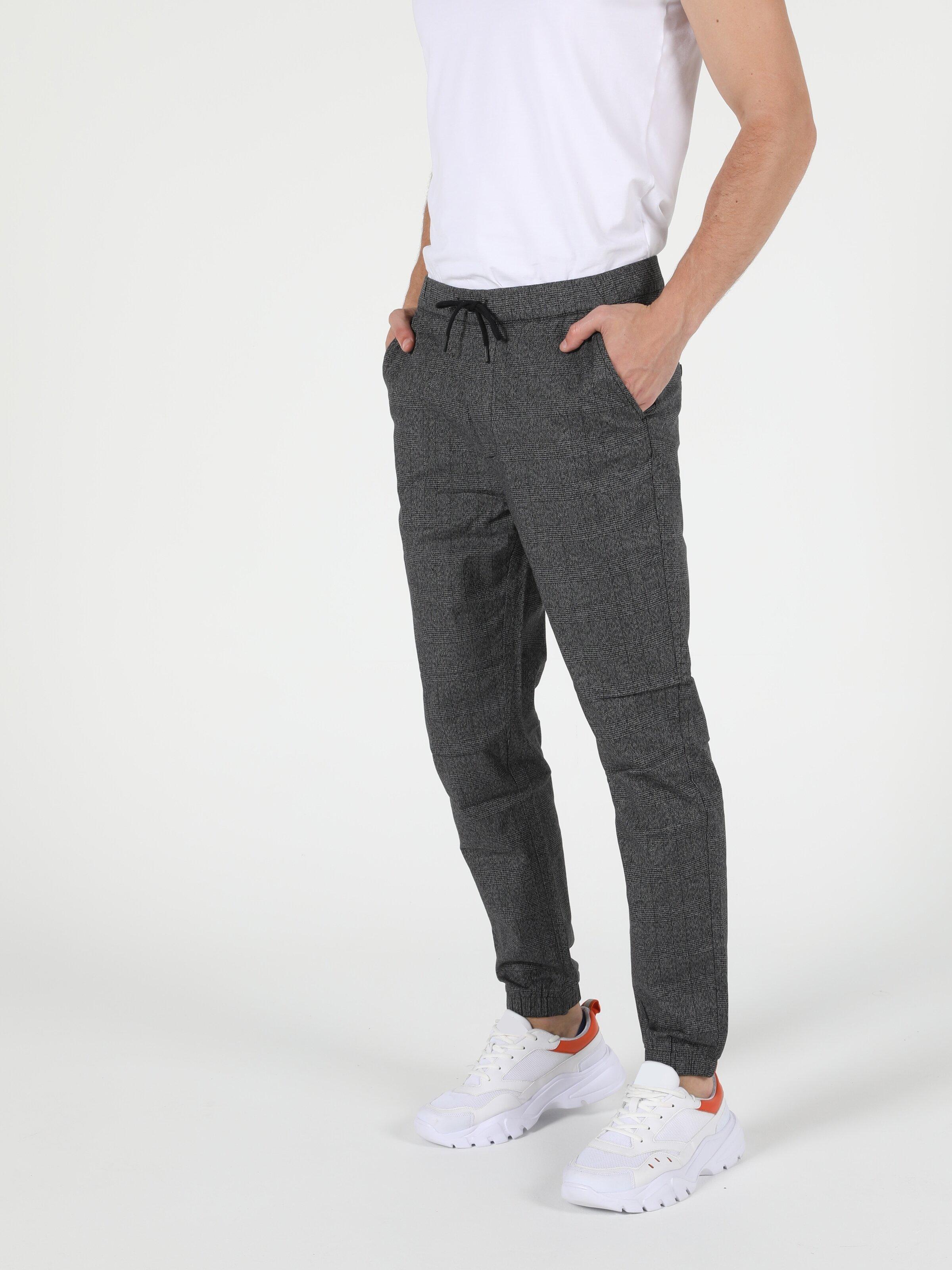 Slim Fit Orta Bel Slim Leg Erkek Antrasit Pantolon