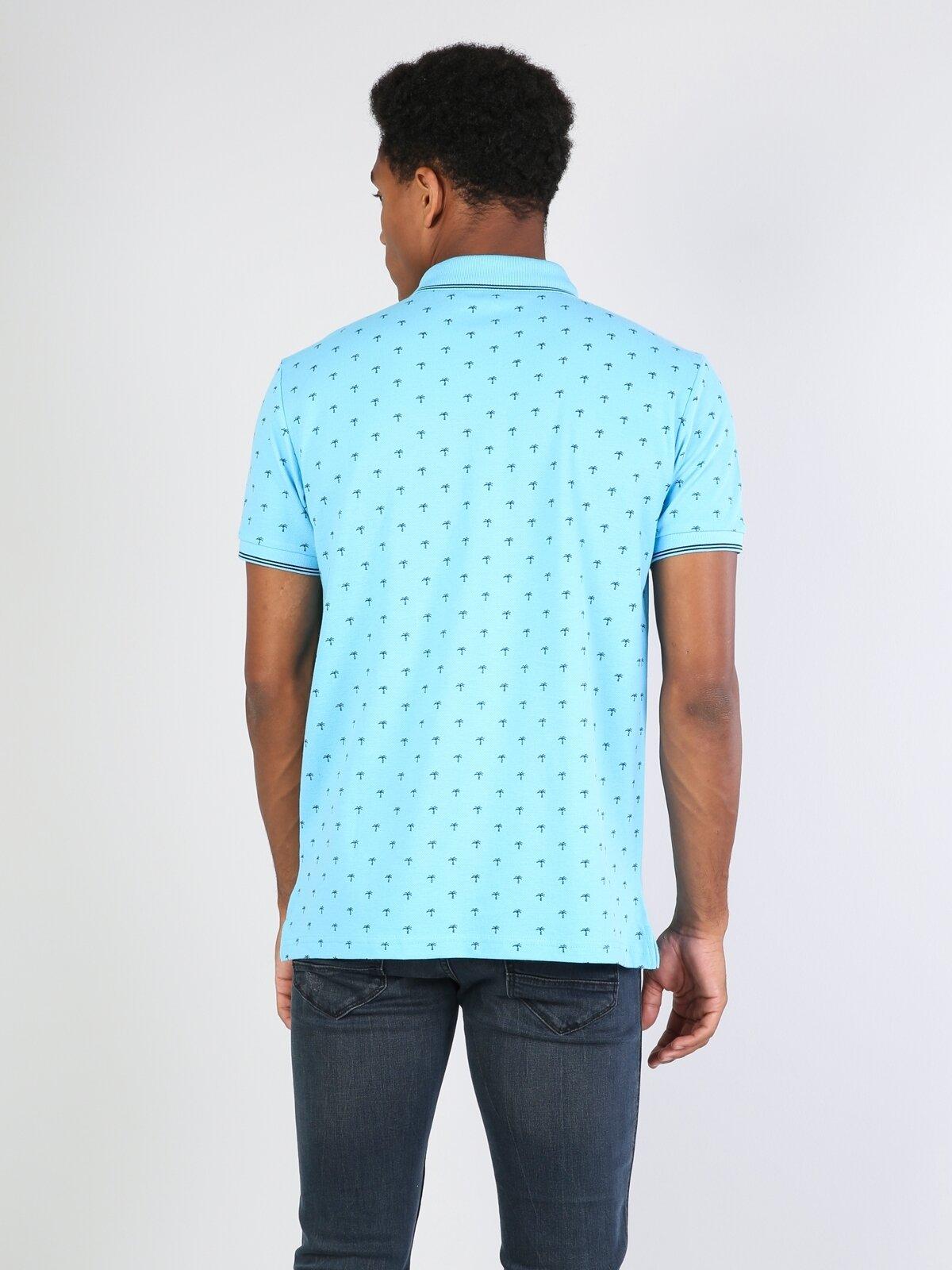 Polo Yaka Açık Mavi Kısa Kol Tişört