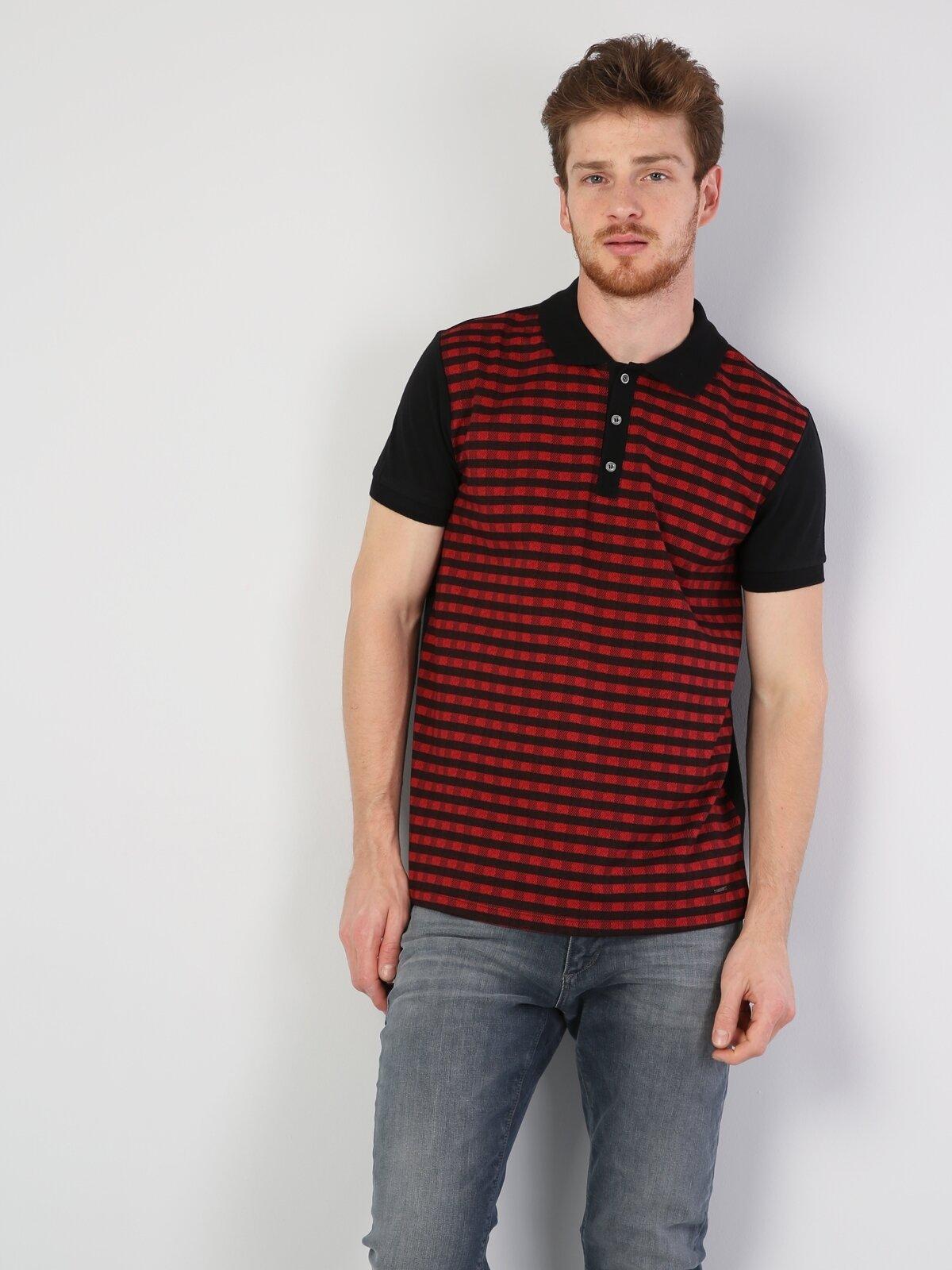 Polo Yaka Kırmızı Kısa Kol Tişört