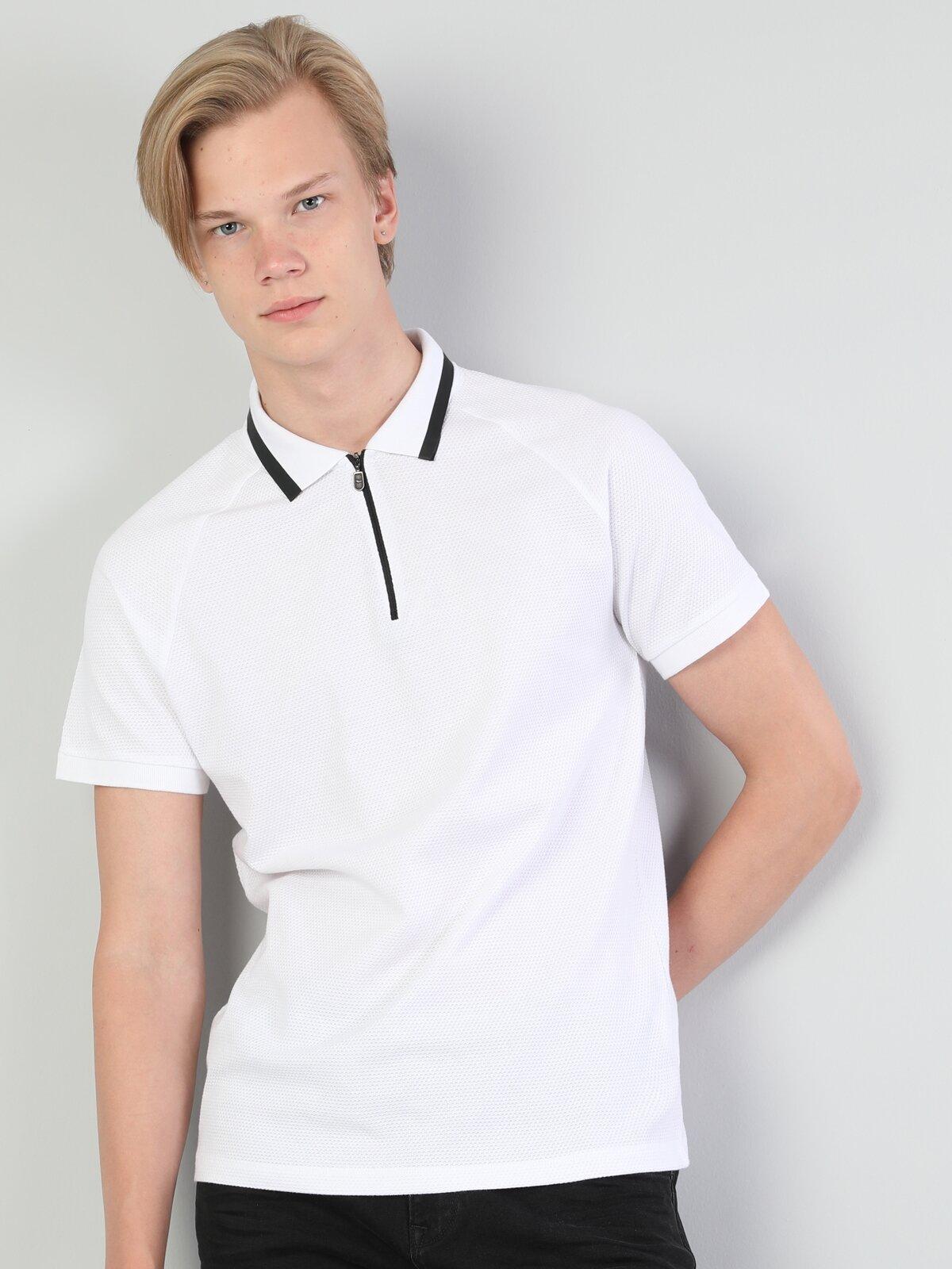 Polo Yaka Beyaz Erkek Kısa Kol Tişört