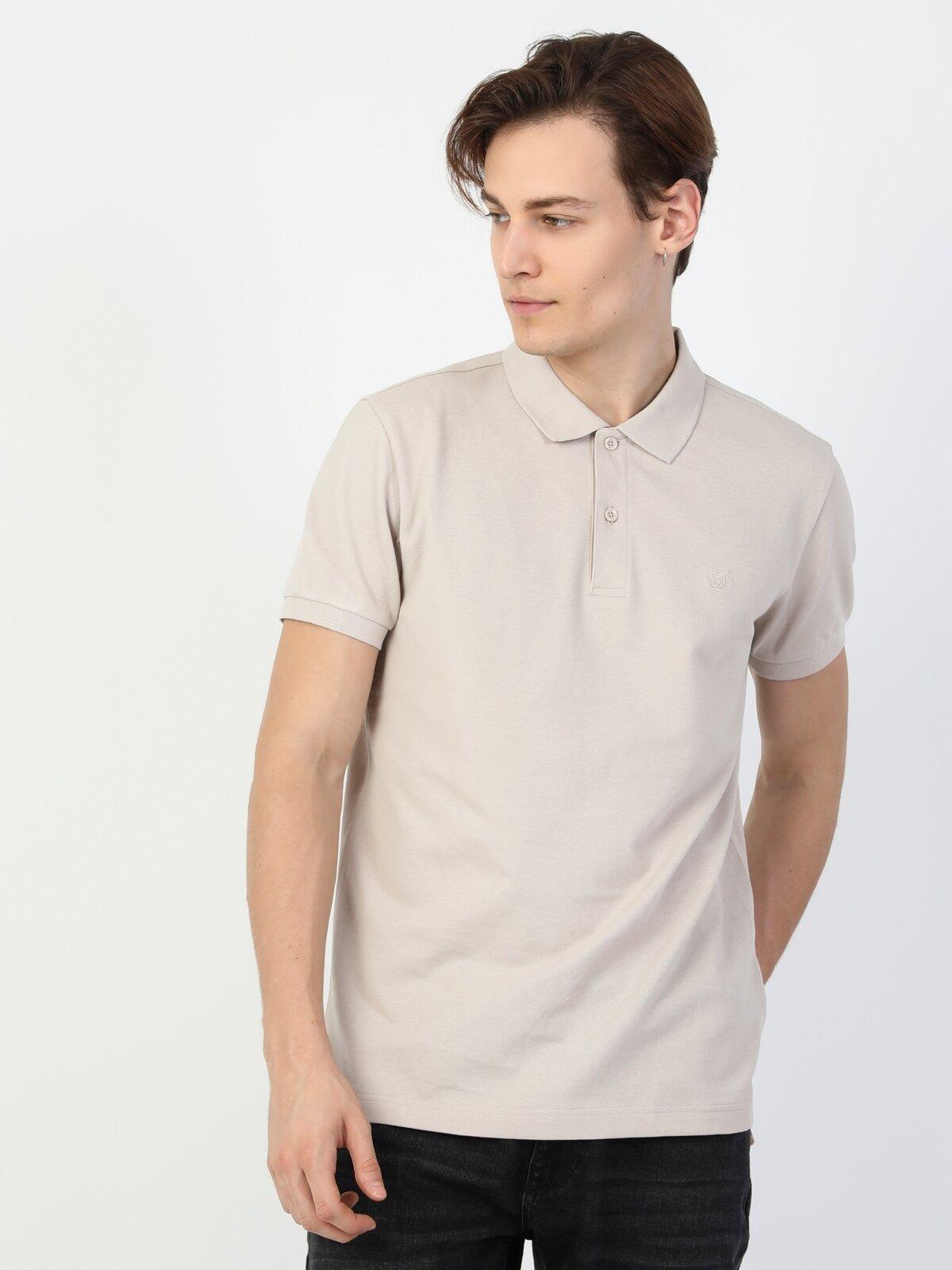 Regular Fit Polo Yaka Erkek Gri Erkek Kısa Kol Tişört