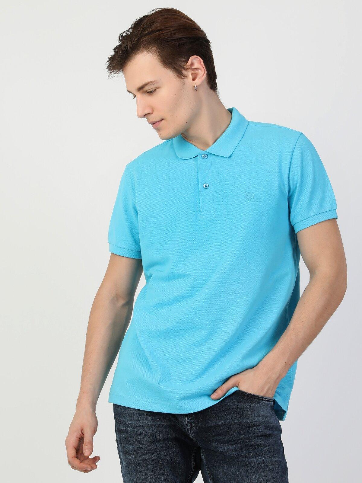 Polo Yaka Turkuaz Kısa Kol Tişört