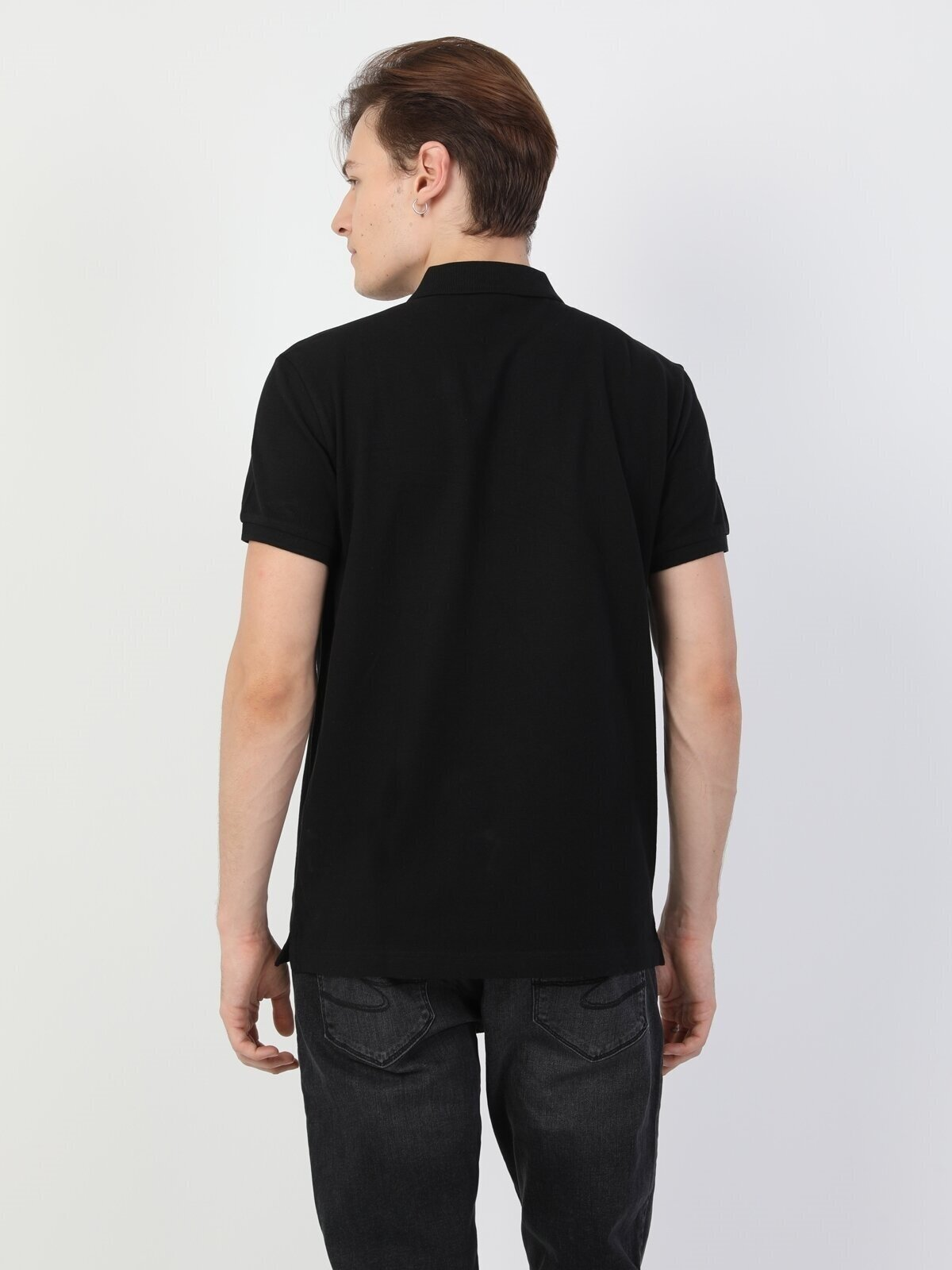 Regular Fit Polo Yaka Siyah Erkek Tişört